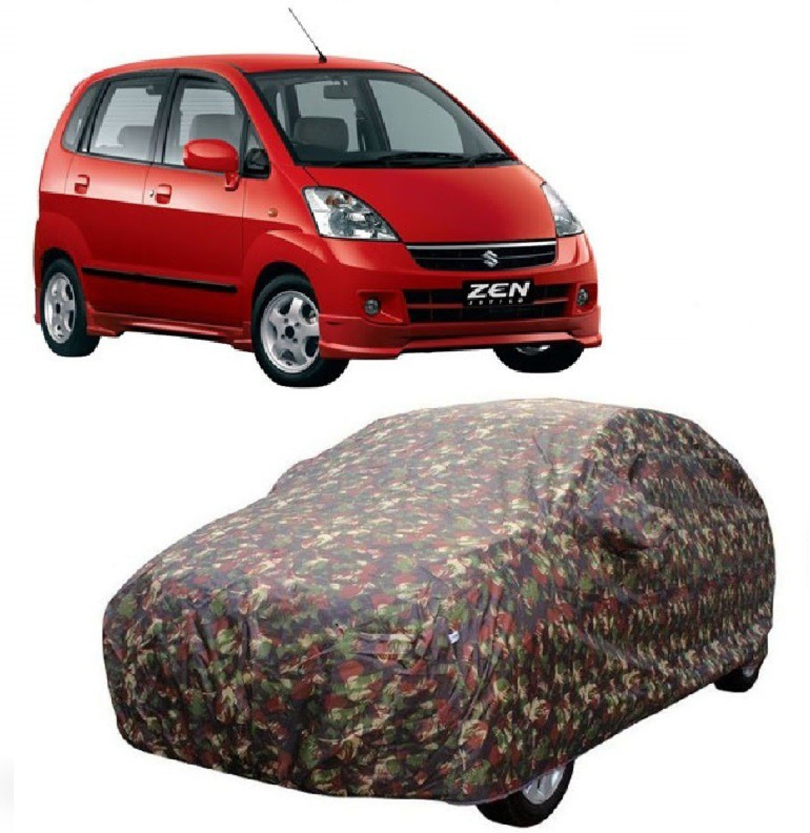 Motrox car cover for maruti suzuki zen estilo with mirror pockets multicolor