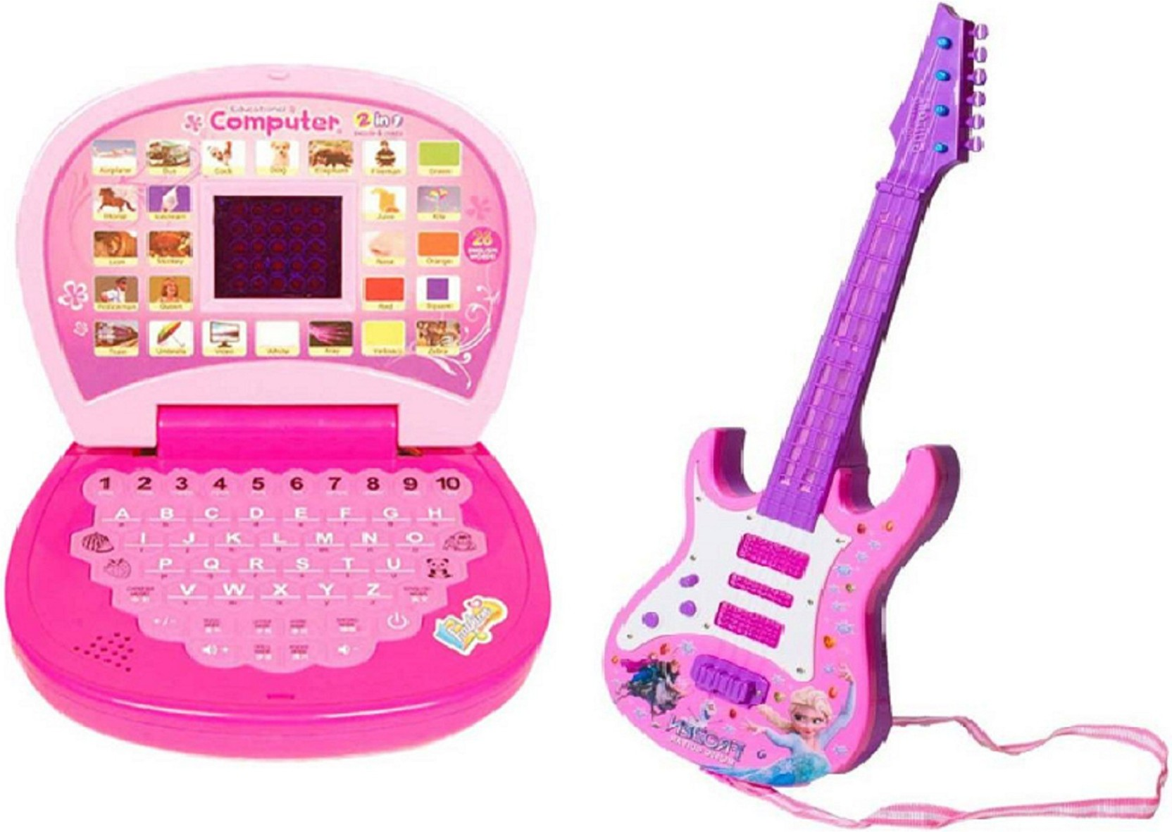 M N Overseas Musical Guitar with Learning Laptop for kids