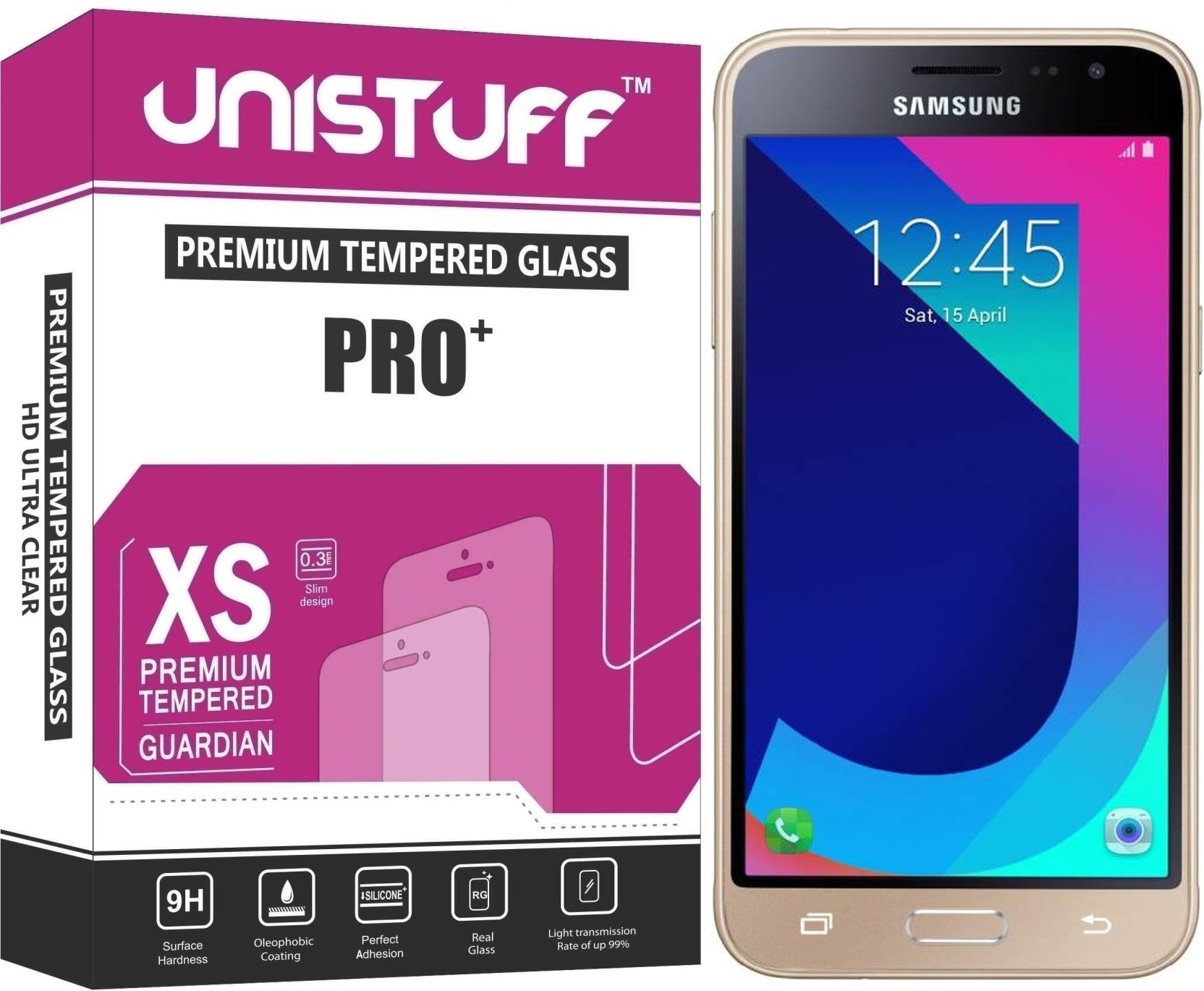 Unistuff Tempered Glass Guard For Samsung Galaxy J3 Pro Full Color Cover Home