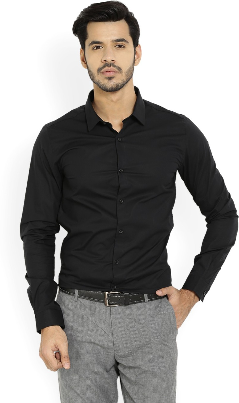 United colors of benetton men 39 s solid formal black shirt for Black tuxedo shirt for men