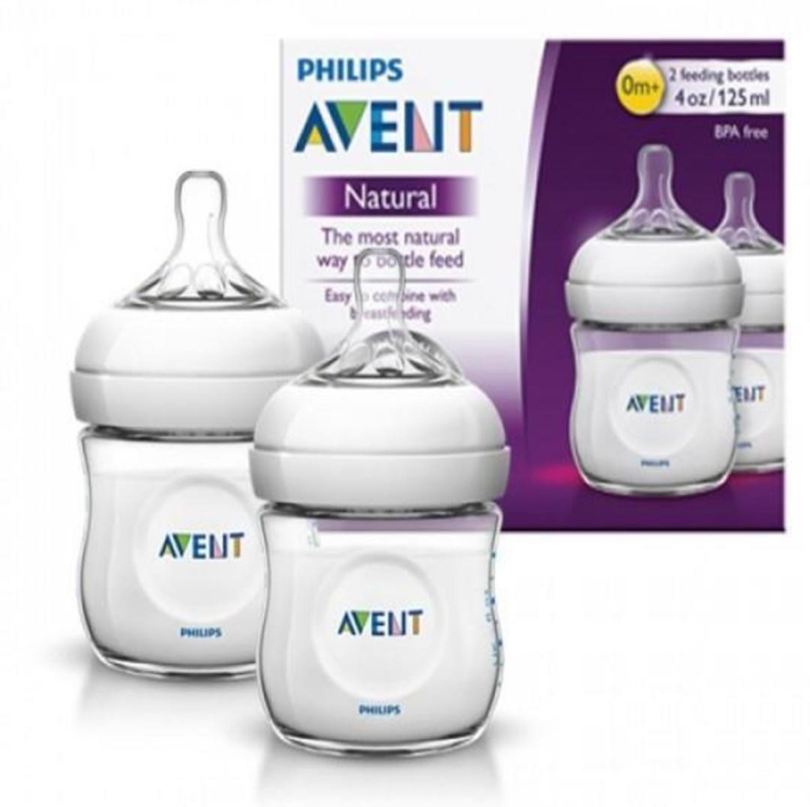 Avent Phillips 125ml Natural Feeding Bottle Pack Of 2 Philips Gift Set Baby Newborn 250 Ml White