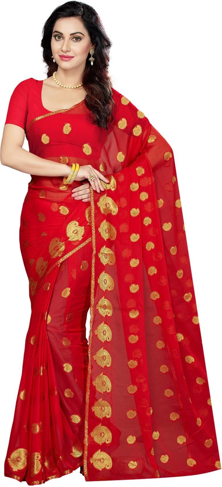 1b2a636c30 Buy Ishin Woven Bollywood Chiffon Multicolor Sarees Online @ Best ...