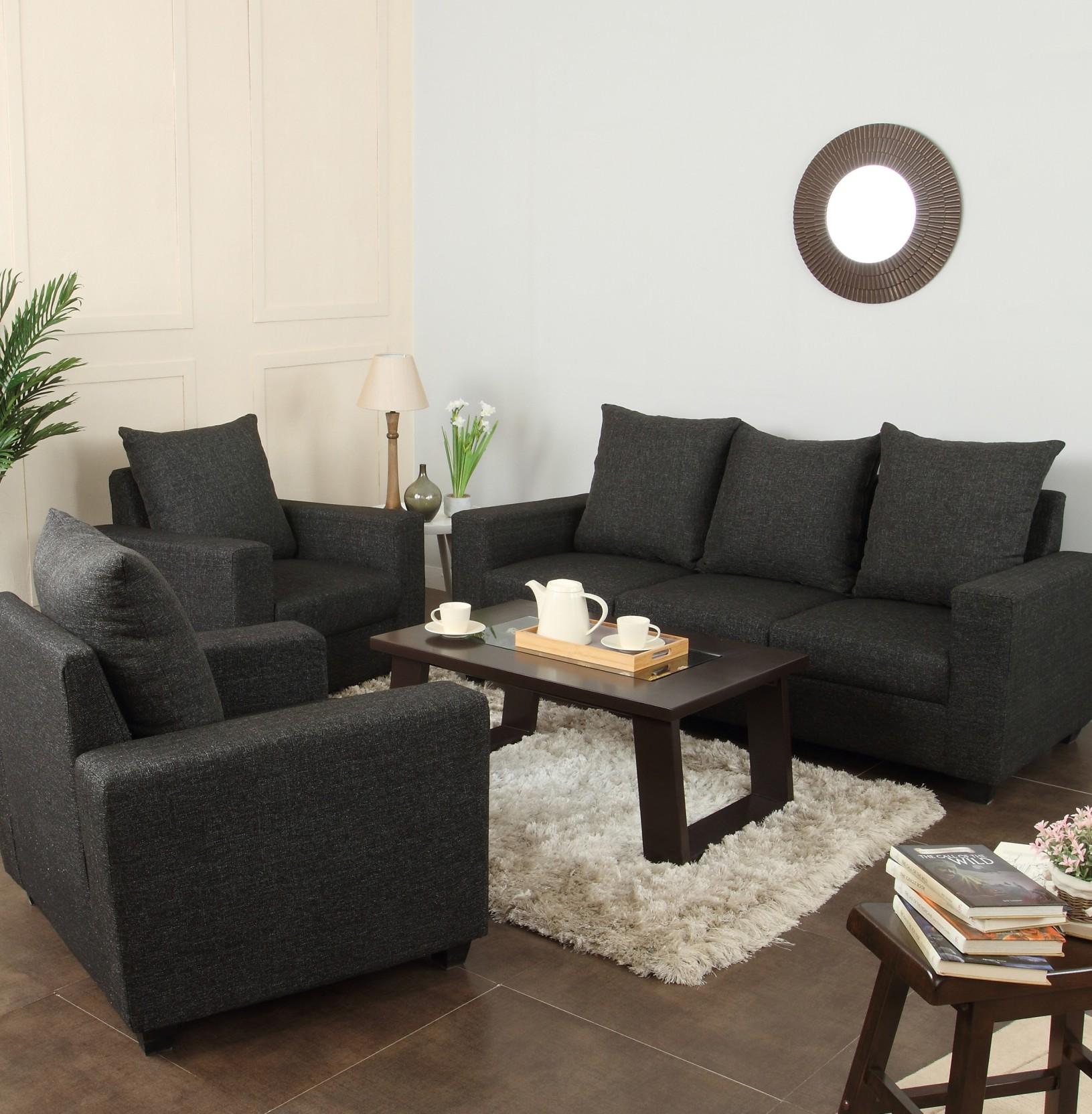 Sectional Gray Sofa Set: Furnicity Fabric 3 + 1 + 1 Grey Sofa Set Price In India
