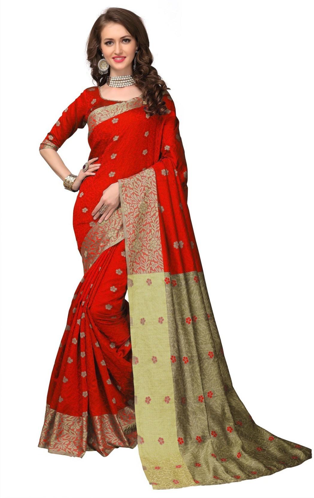 0059ec716e Buy monjolika fashion Woven Banarasi Banarasi Silk Red Sarees Online ...