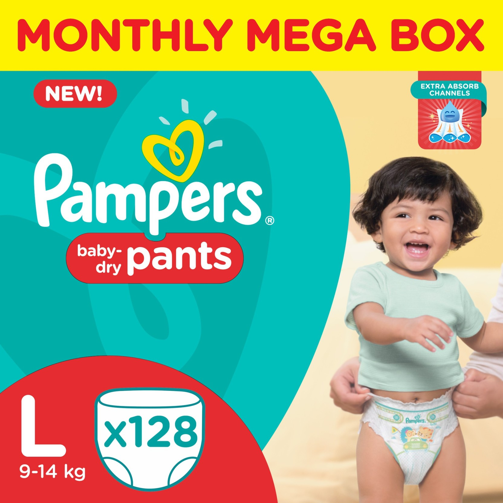 Pampers Pants Diapers Monthly Mega Box - L - Buy 128 ...