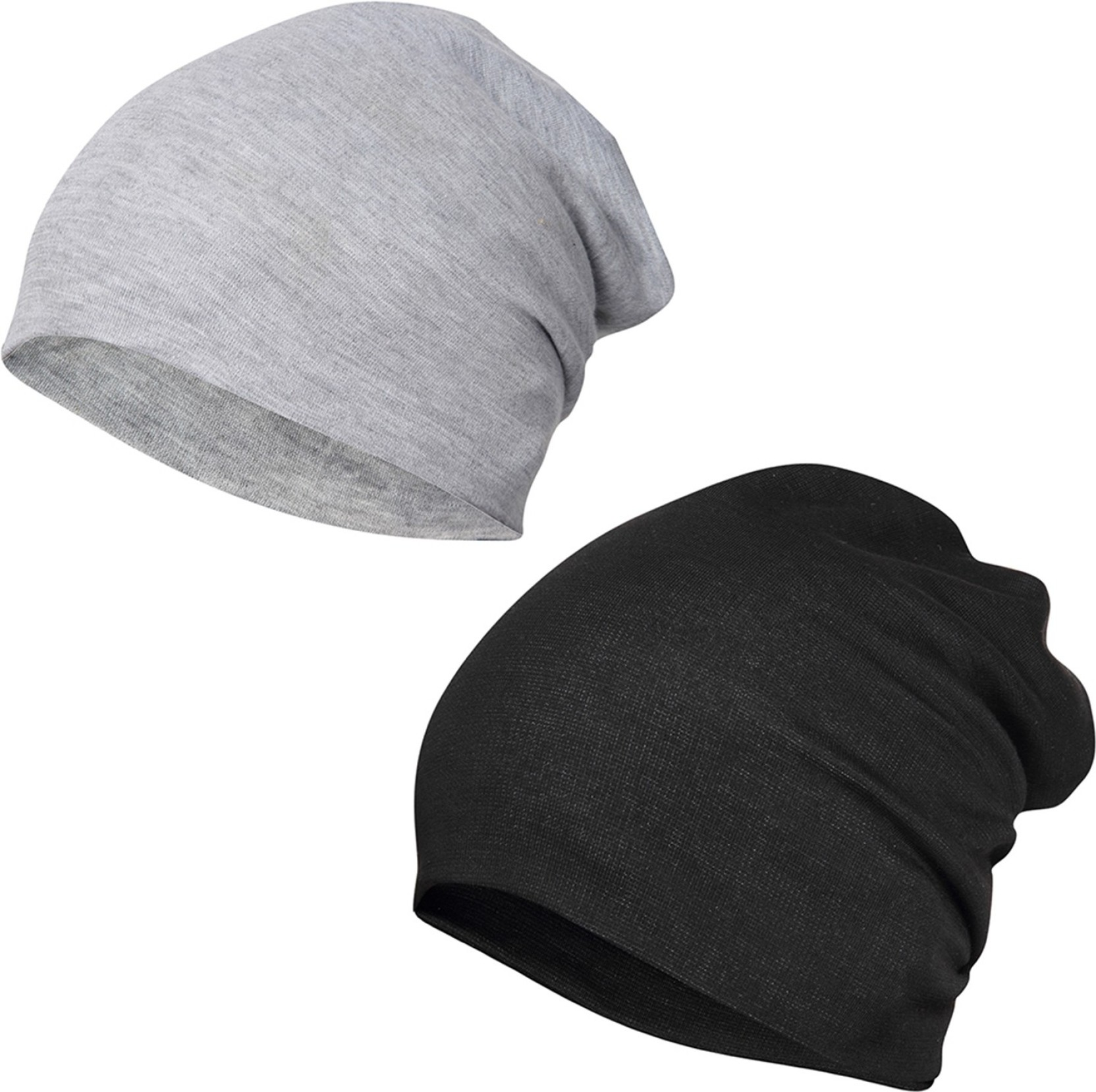 17f2f039 FabSeasons Solid Cotton Slouchy Beanie and Skull Cap for Summer, Winter,  Autumn & Spring Season.(Gray, Black) Cap (Pack of 2)