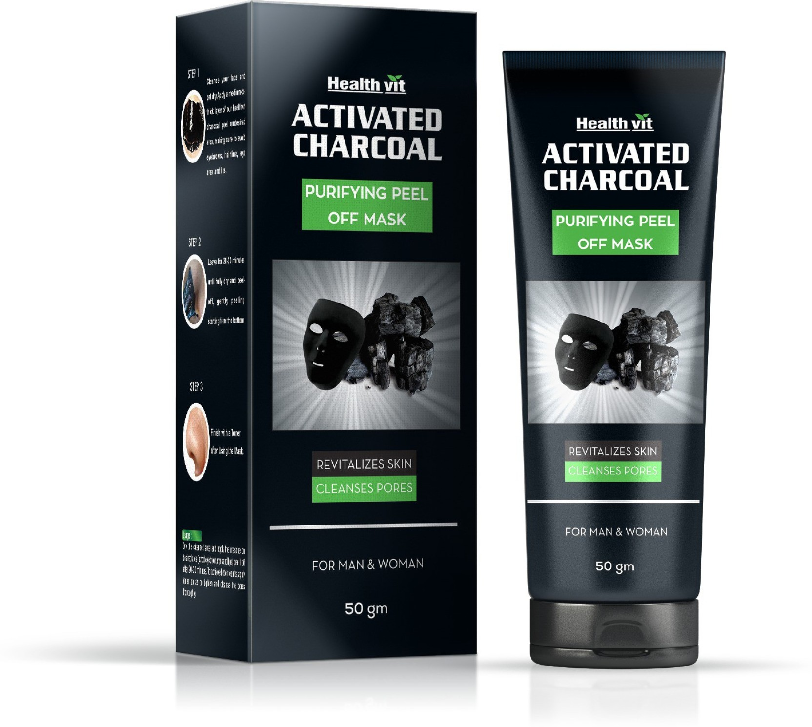 Healthvit Activated Charcoal Purifying Peel Off Mask 50gm Price In Shills Black Original Shill Add To Cart