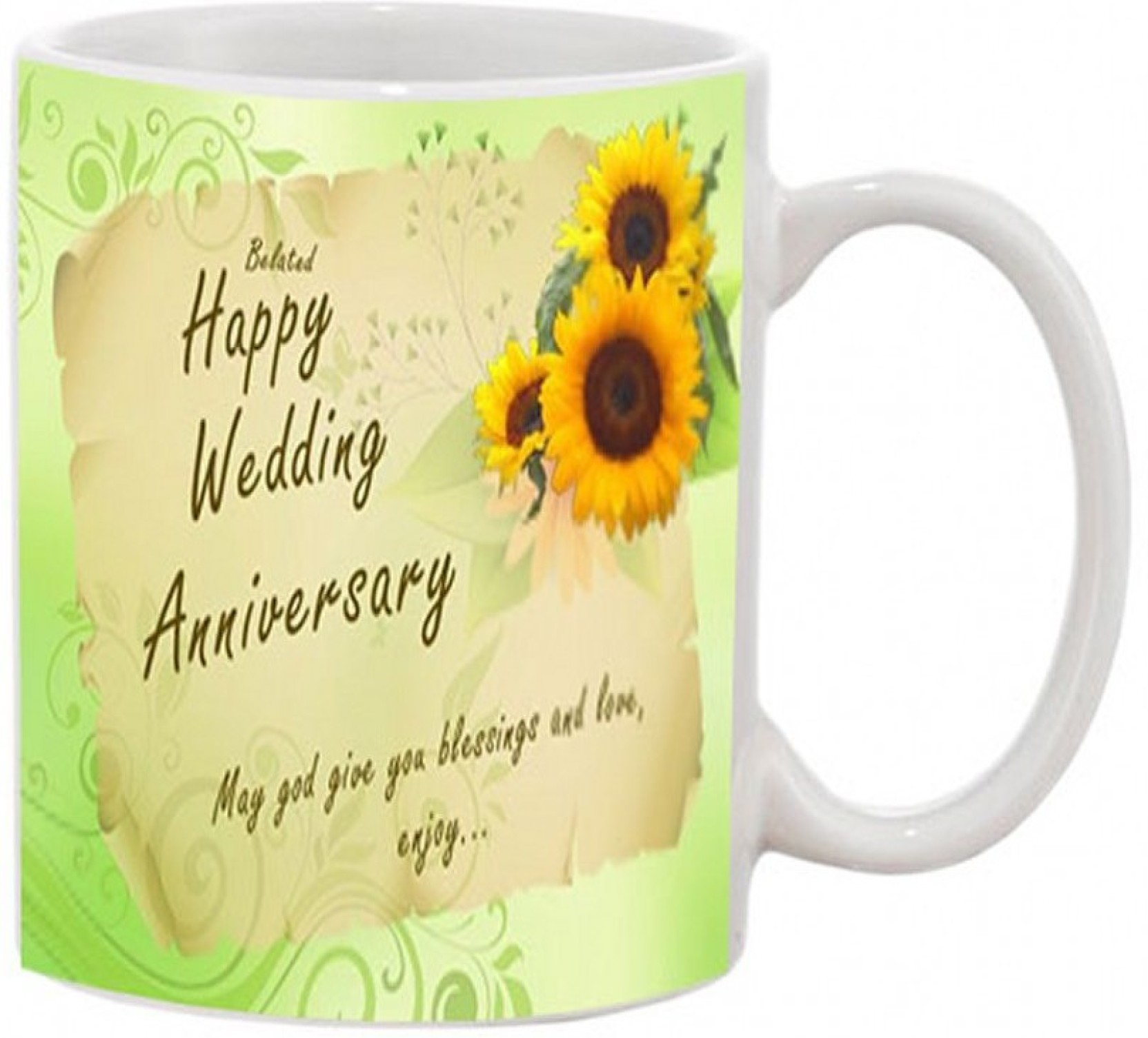 Jmdprints Personalized Belated Happy Anniversary Printed White Color