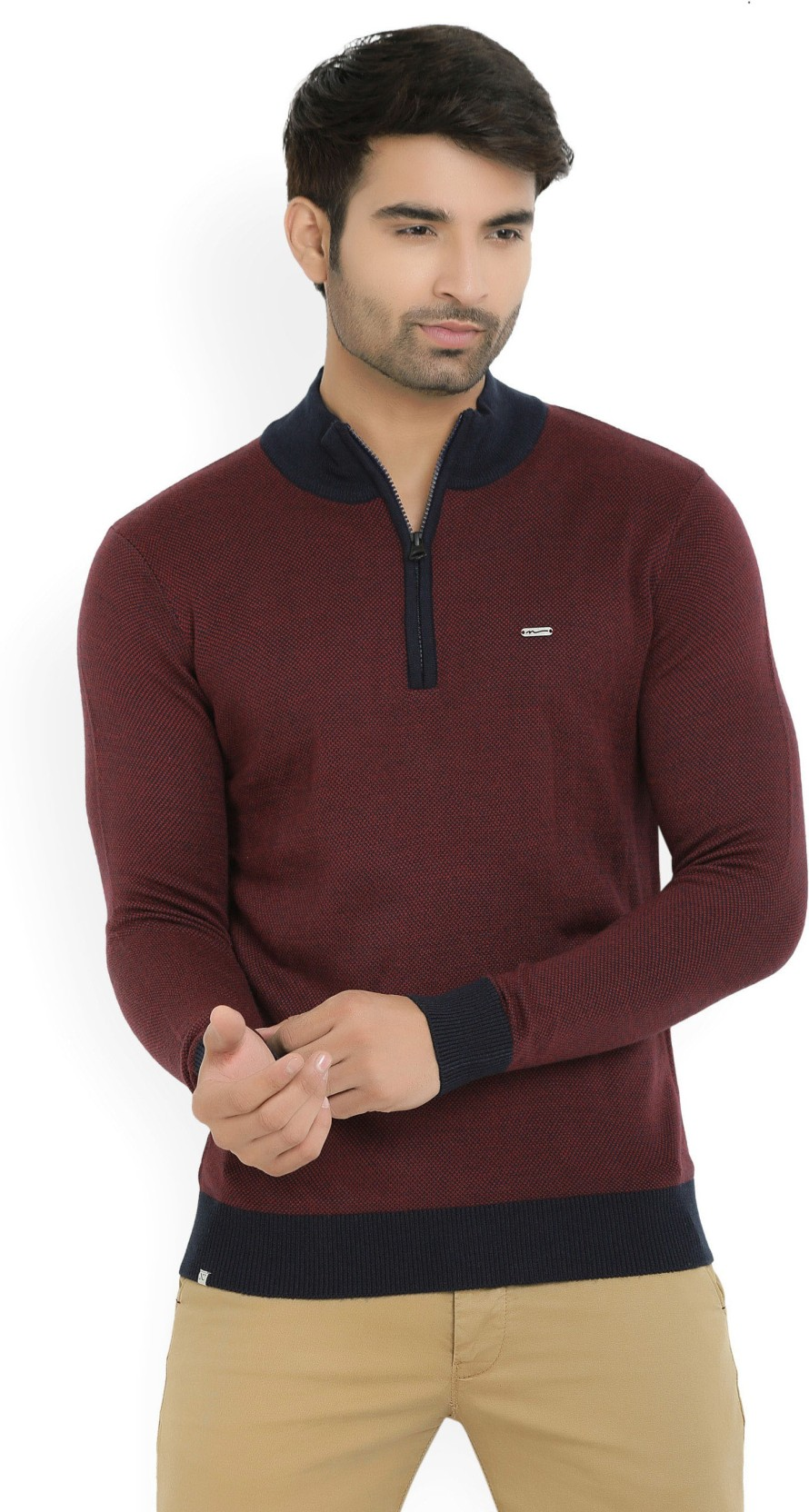 3db60722d Numero Uno Self Design Turtle Neck Casual Men s Maroon Sweater - Buy ...