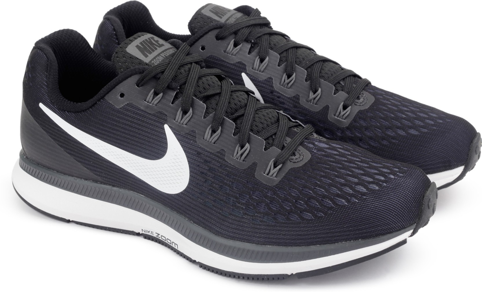 nike air zoom pegasus 34 running shoes buy black white dark grey anthracite color nike air. Black Bedroom Furniture Sets. Home Design Ideas