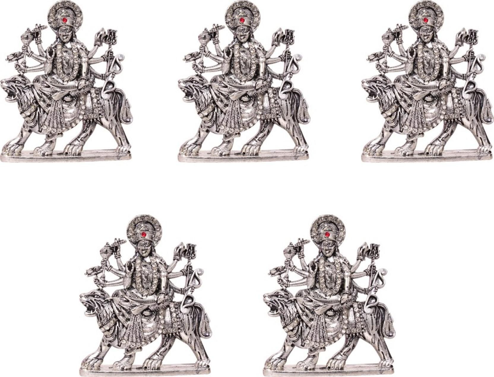 Art n hub set of 5 goddess durga devi maa sherawali idol navratri pooja statue decorative showpiece 8 cm brass silver