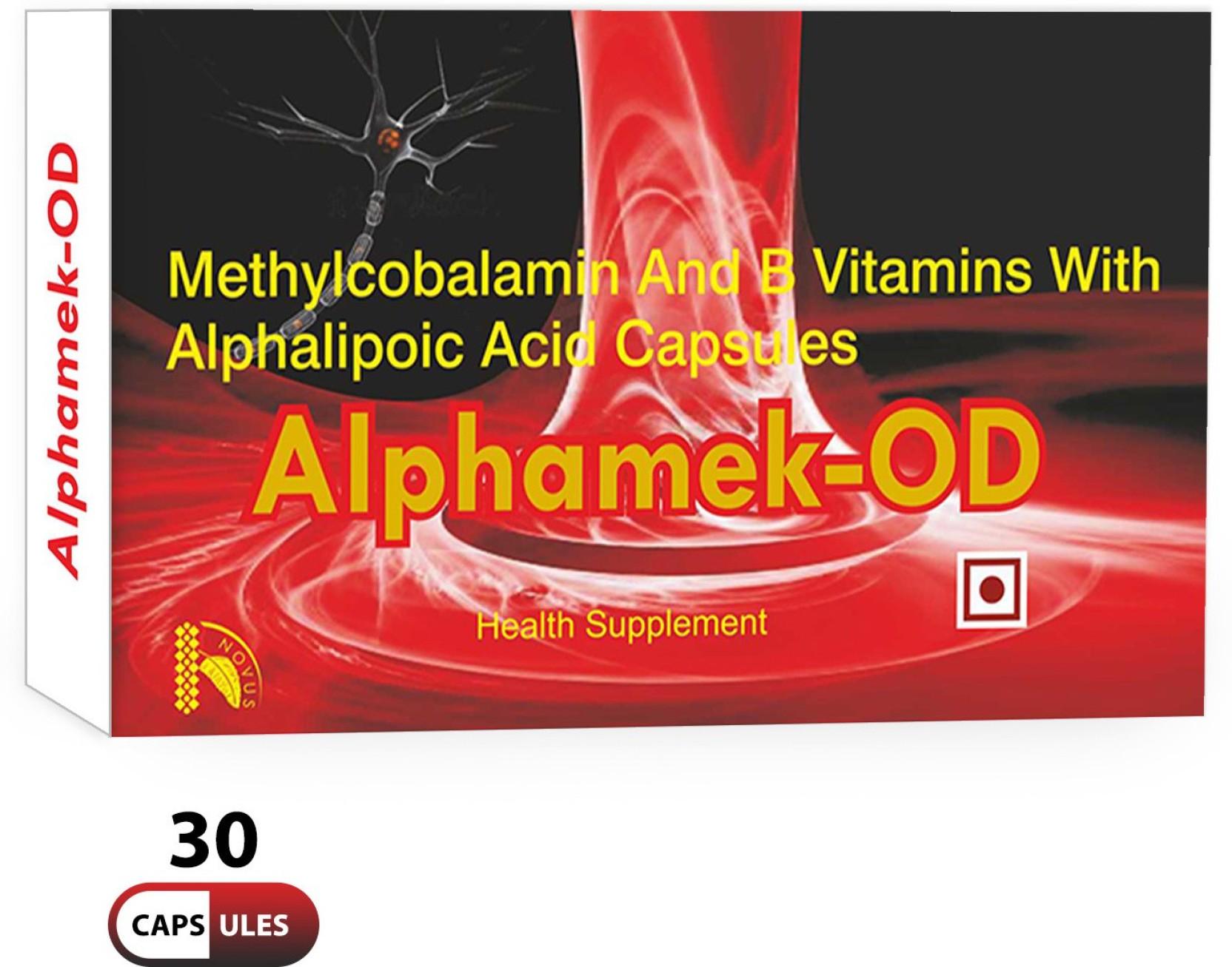 Alphamek OD Vitamin B12 Methylcobalamin 1500mcg ALA Folic Acid