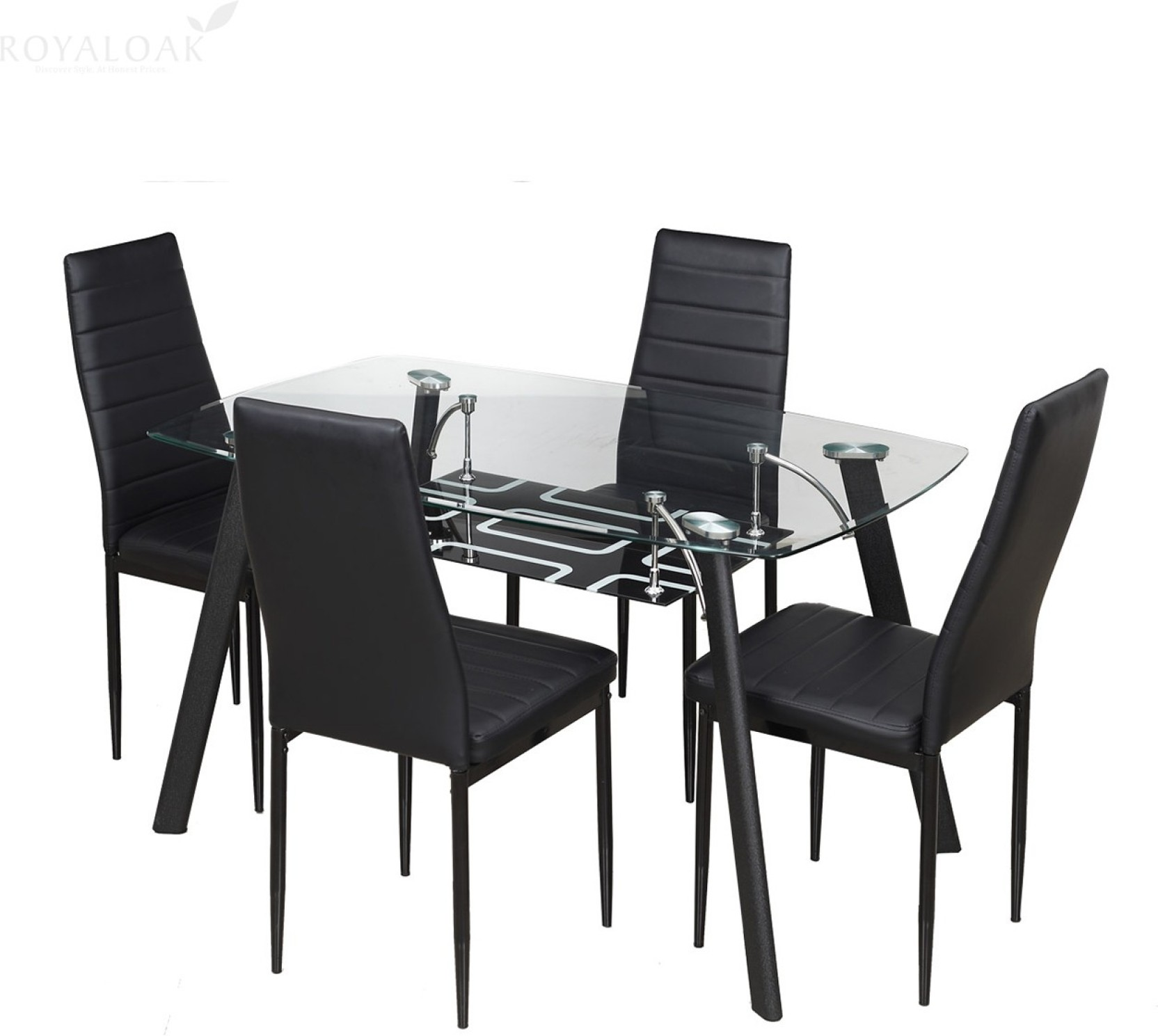 Royaloak milan glass 4 seater dining set price in india for Dining table with 6 chairs cheap