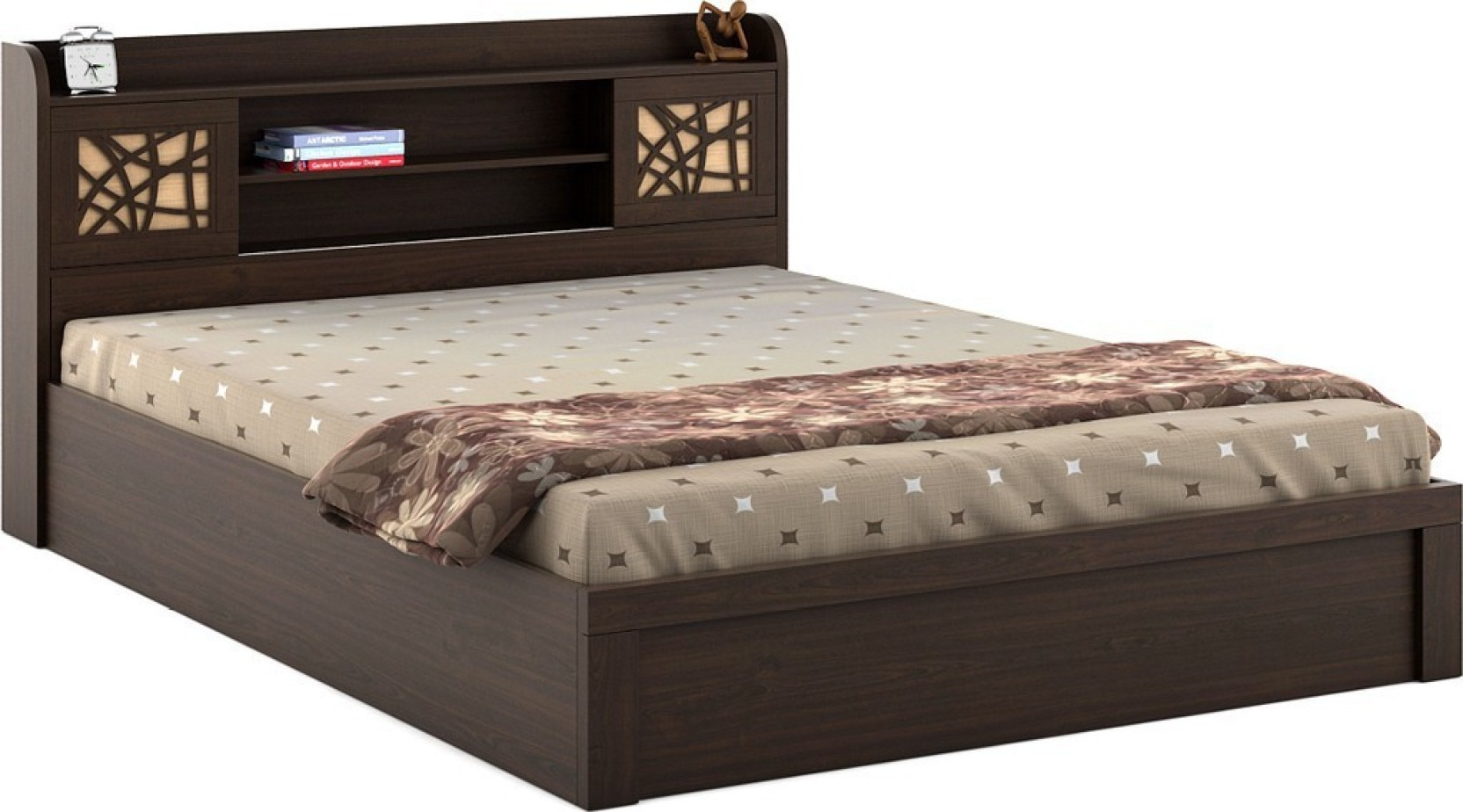 Spacewood mayflower engineered wood king bed with storage for Buy king bed online