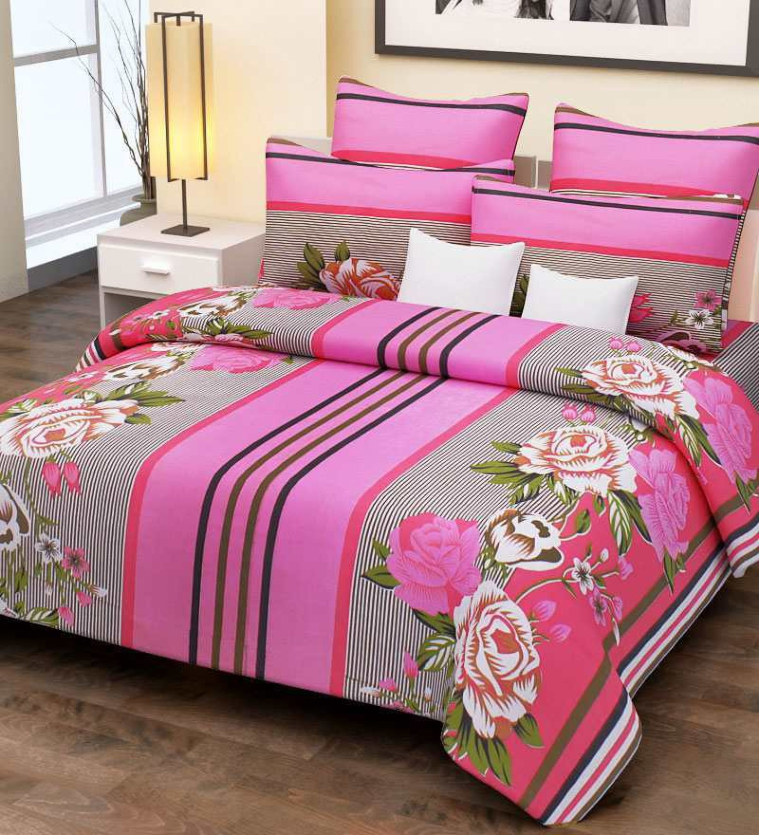 Home Candy Cotton Floral Double Bedsheet. ON OFFER