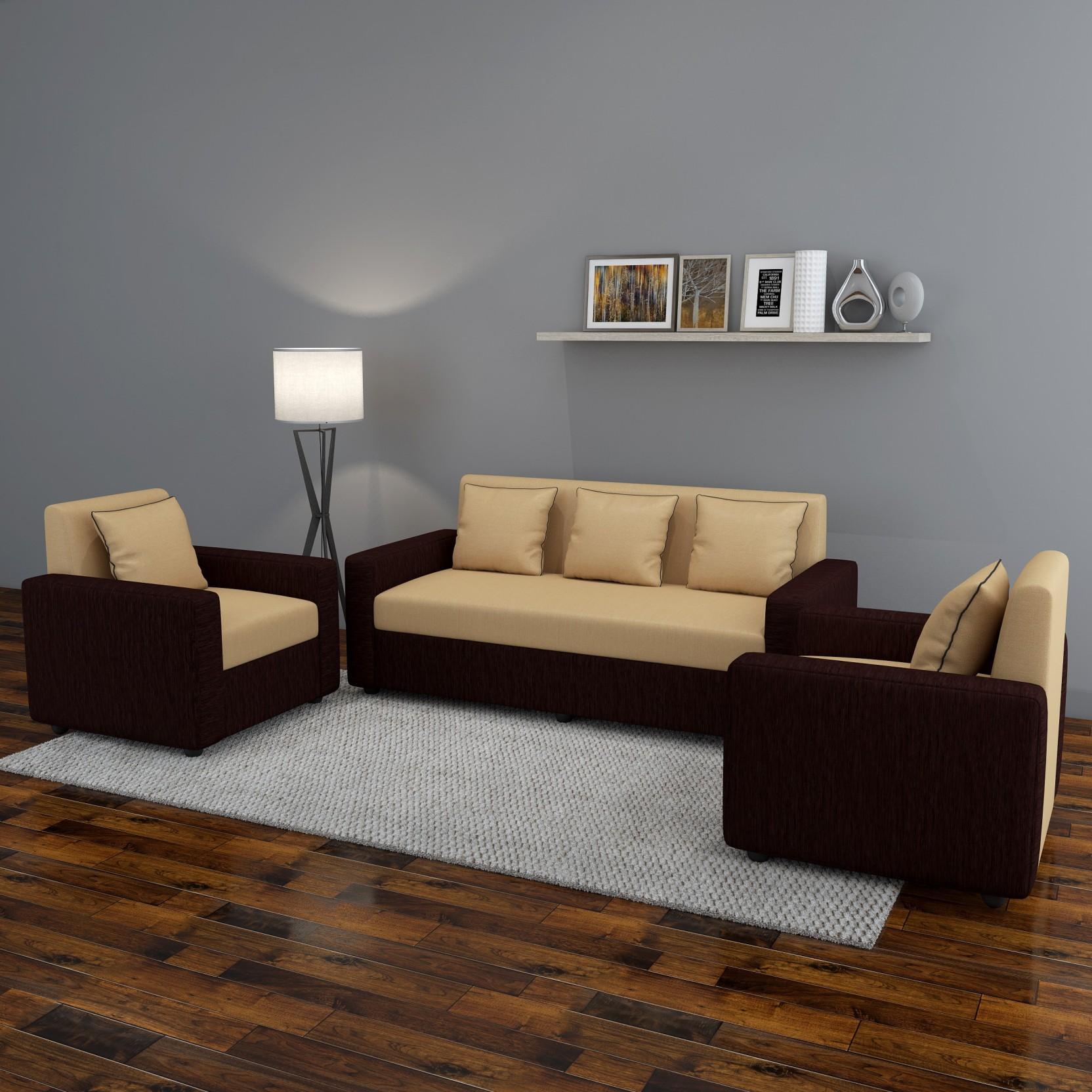 Settee Sofa Furniture Prices In India: Gioteak Fabric 3 + 1 + 1 CREAM BROWN Sofa Set Price In