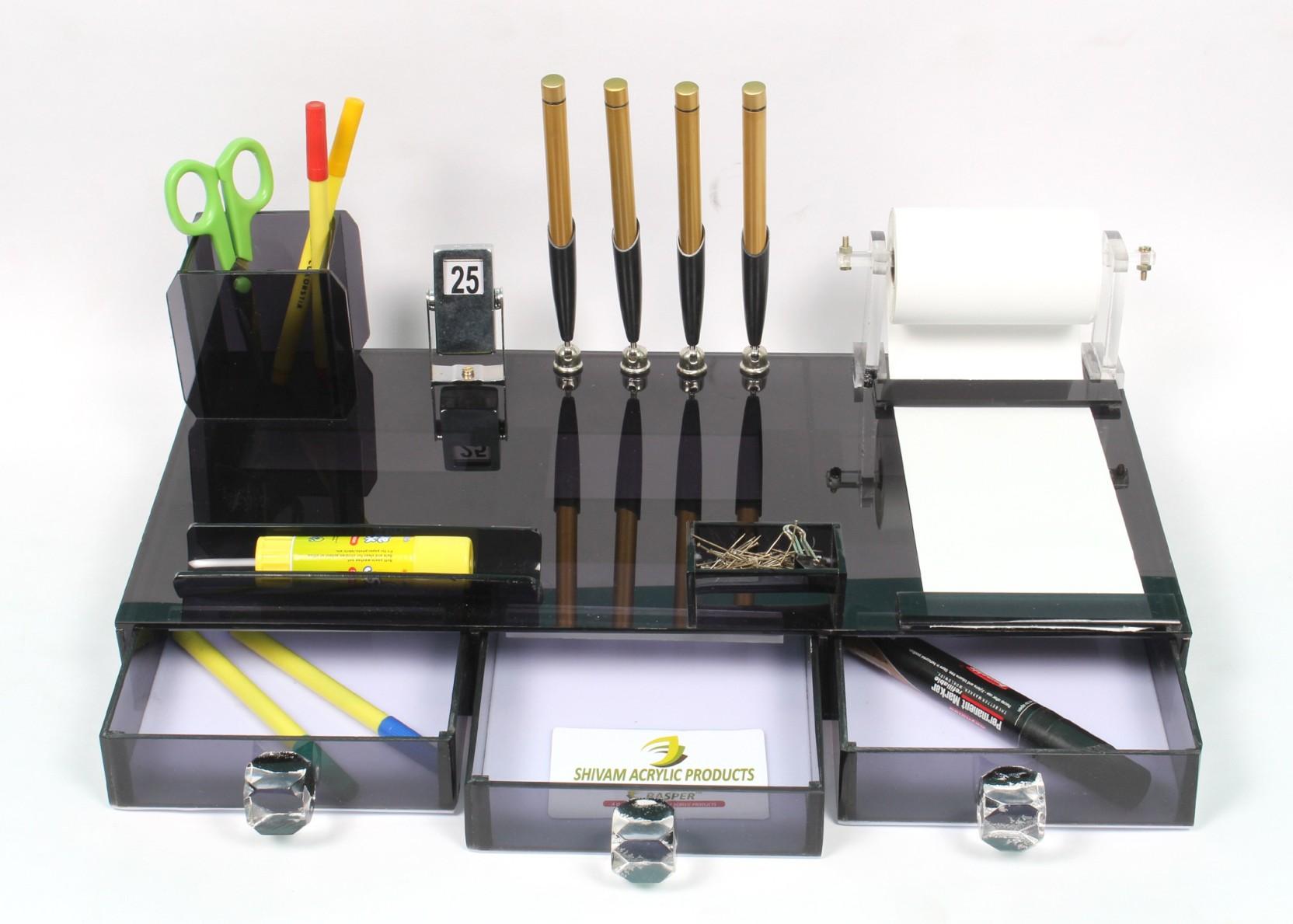 Rasper 6 Compartments High Class Acrylic Pen Stand Faber Castell Neo Slim Ballpoint Stylus Stainless Steel Matt Share