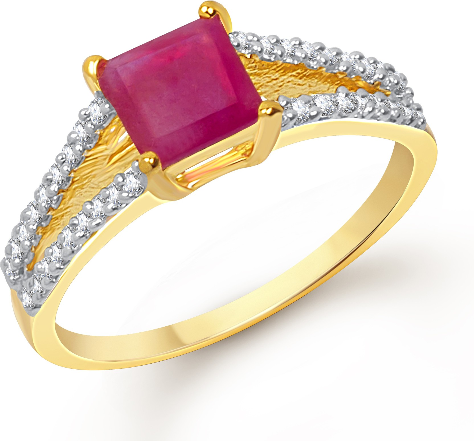 VK Jewels Squre Ruby Alloy Cubic Zirconia 18K Yellow Gold Plated Ring