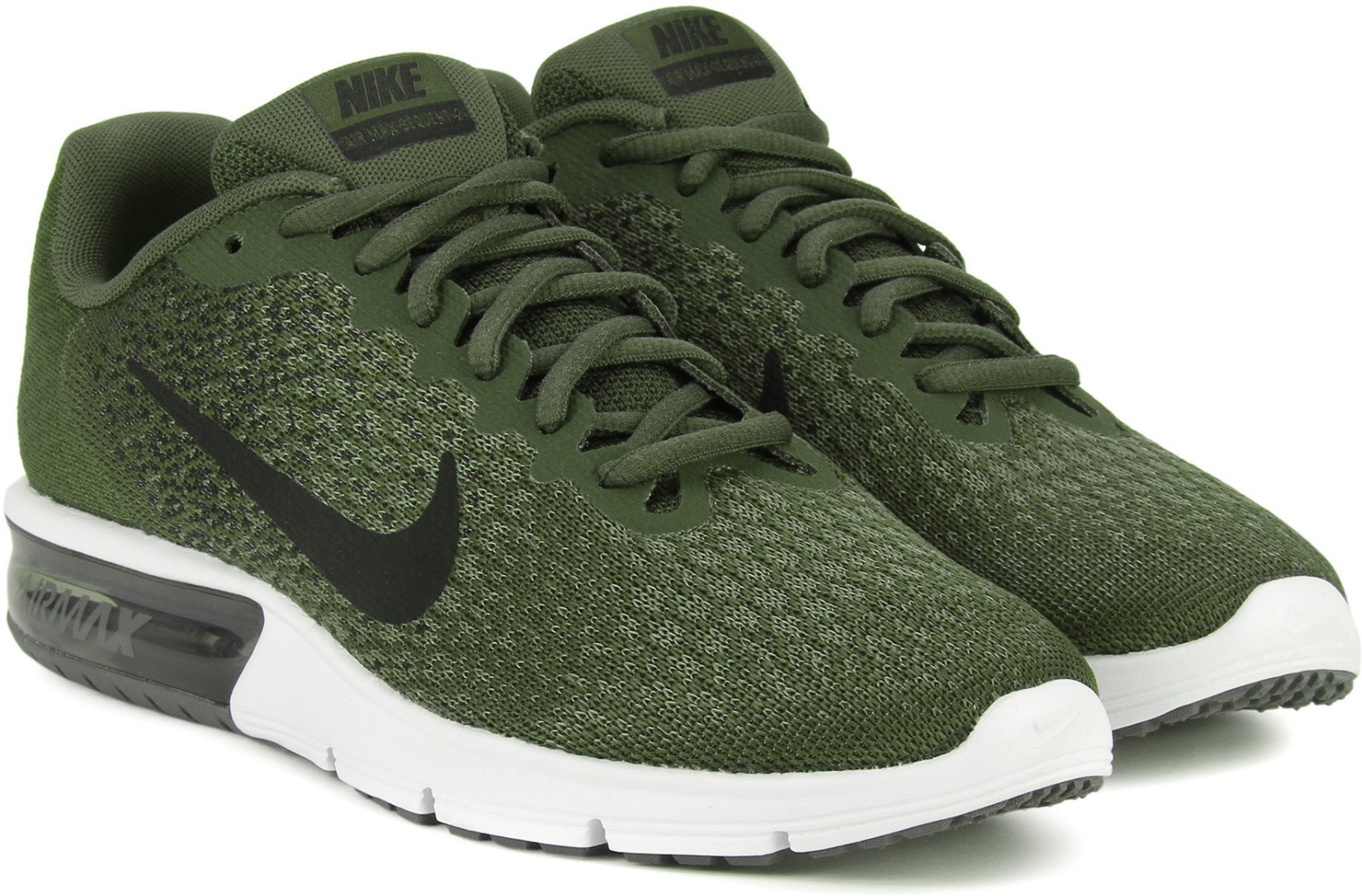 best sneakers 96ab6 92e34 ... clearance nike air max sequent 2 running shoes for men black green  17990 a3a87