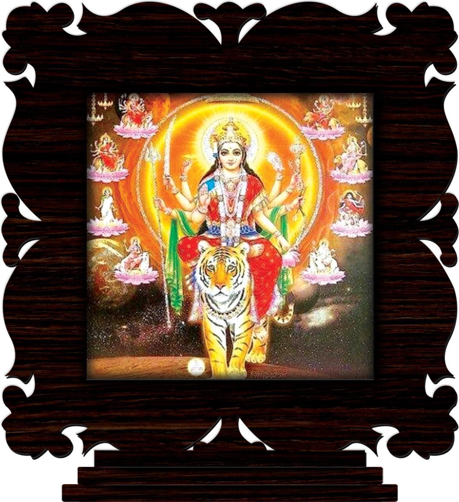 Crazyink maa sherawali decorative showpiece 10 cm wooden multicolor