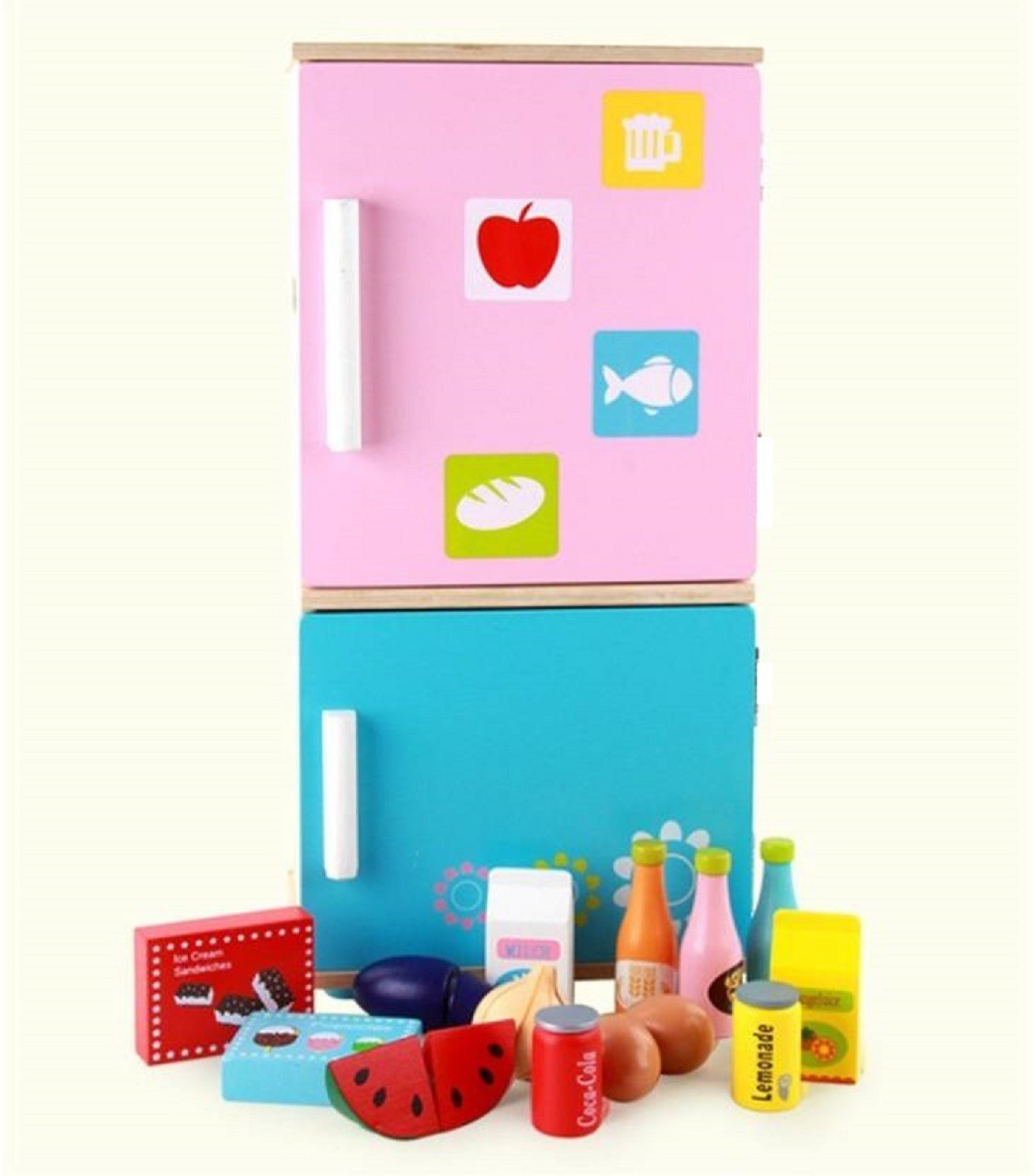 Krypton Wooden Pretend Play Realistic Kitchen Refrigerator with ...