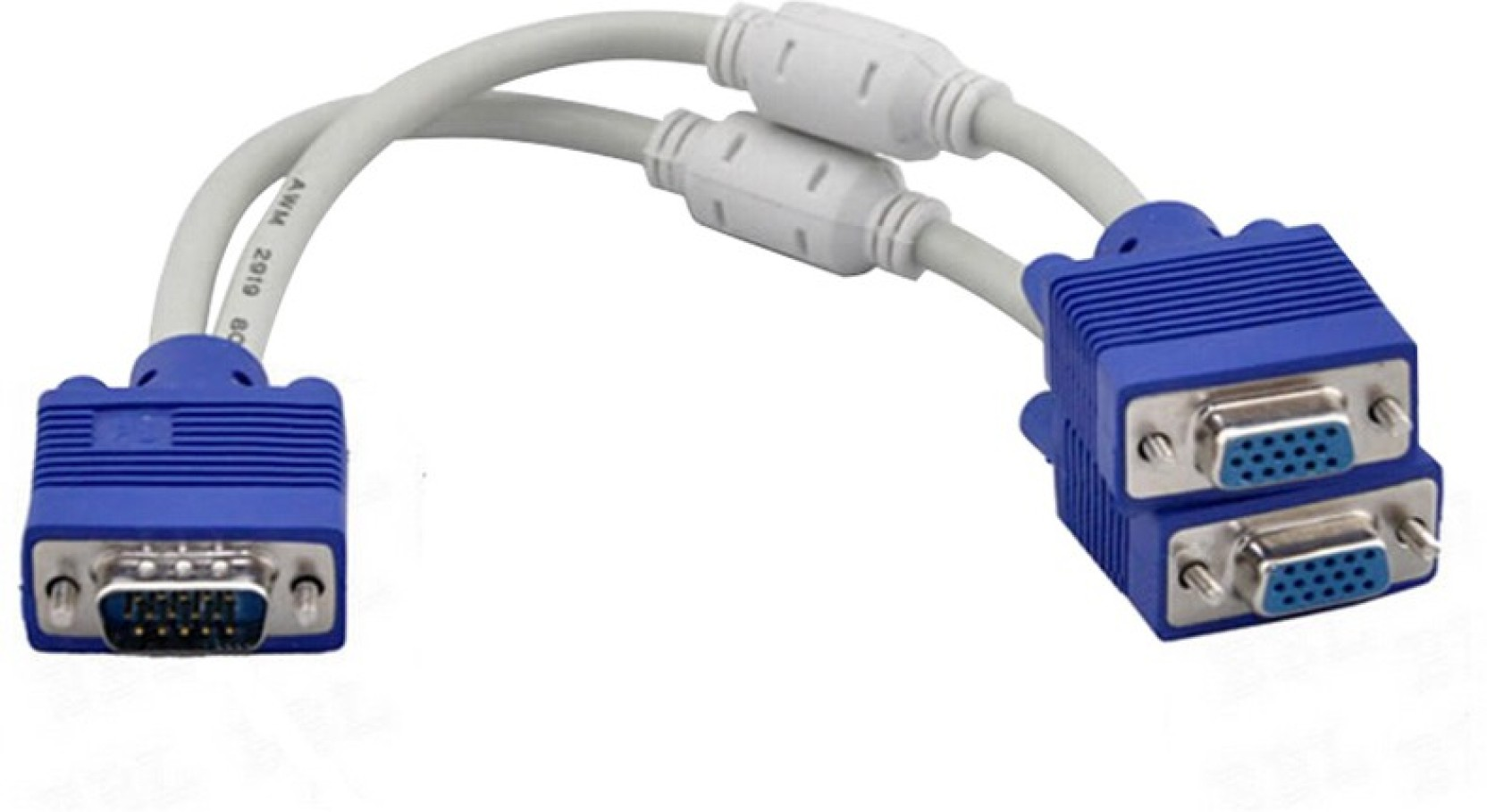 99 Gems High Quality 1 Computer To Dual 2 Monitor Vga Splitter Cable Converter Port Spliter Video Y Add Cart