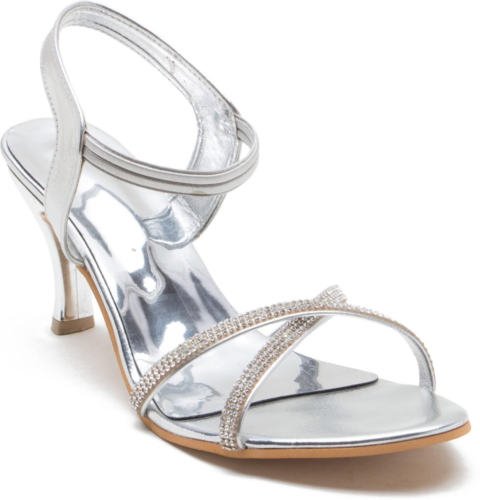 d27d892ca8d NAAZ Women Silver Heels - Buy NAAZ Women Silver Heels Online at Best ...