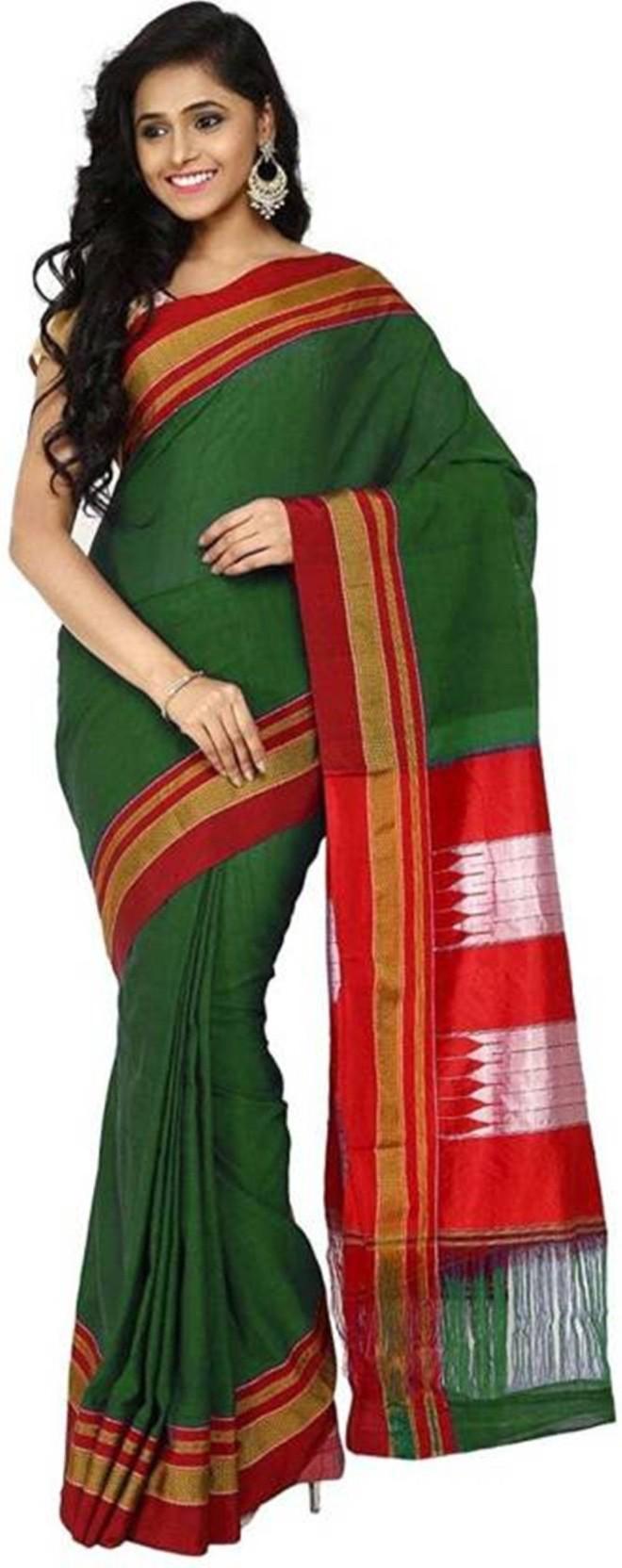 d8b8f0b63aa3d7 Buy Ilkal saree Solid Ilkal Cotton, Pure Silk Green Sarees Online ...