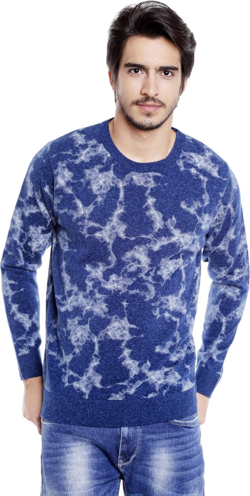 4724e1029c2 Globus Self Design Round Neck Casual Men s Blue Sweater - Buy Globus ...