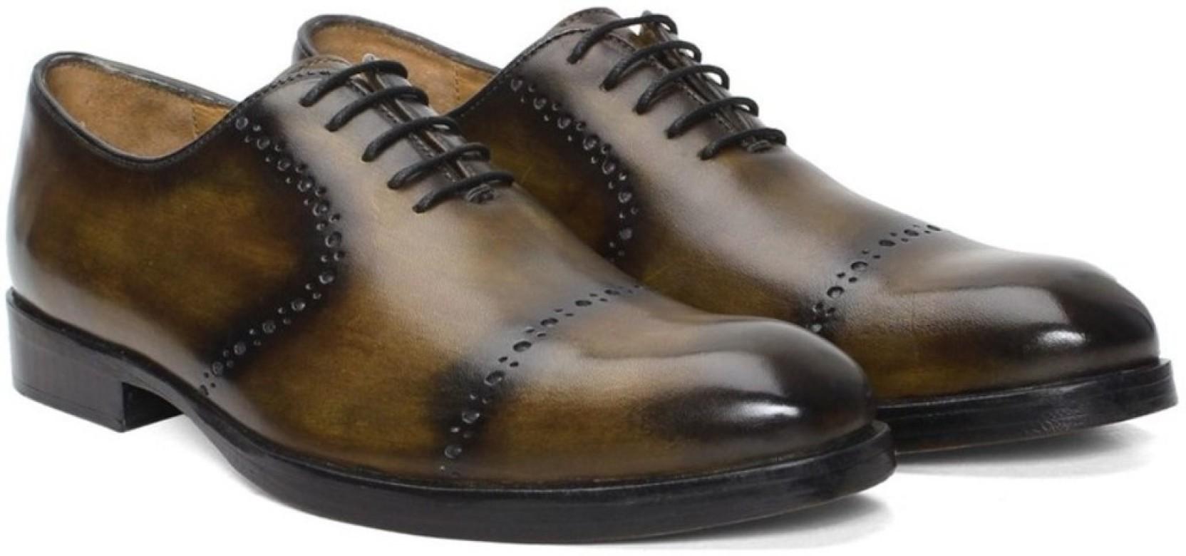 dfc3cd6dfd5 Brune Olive hand painted genuine leather quarter brogue formal shoe Oxford  For Men (Olive