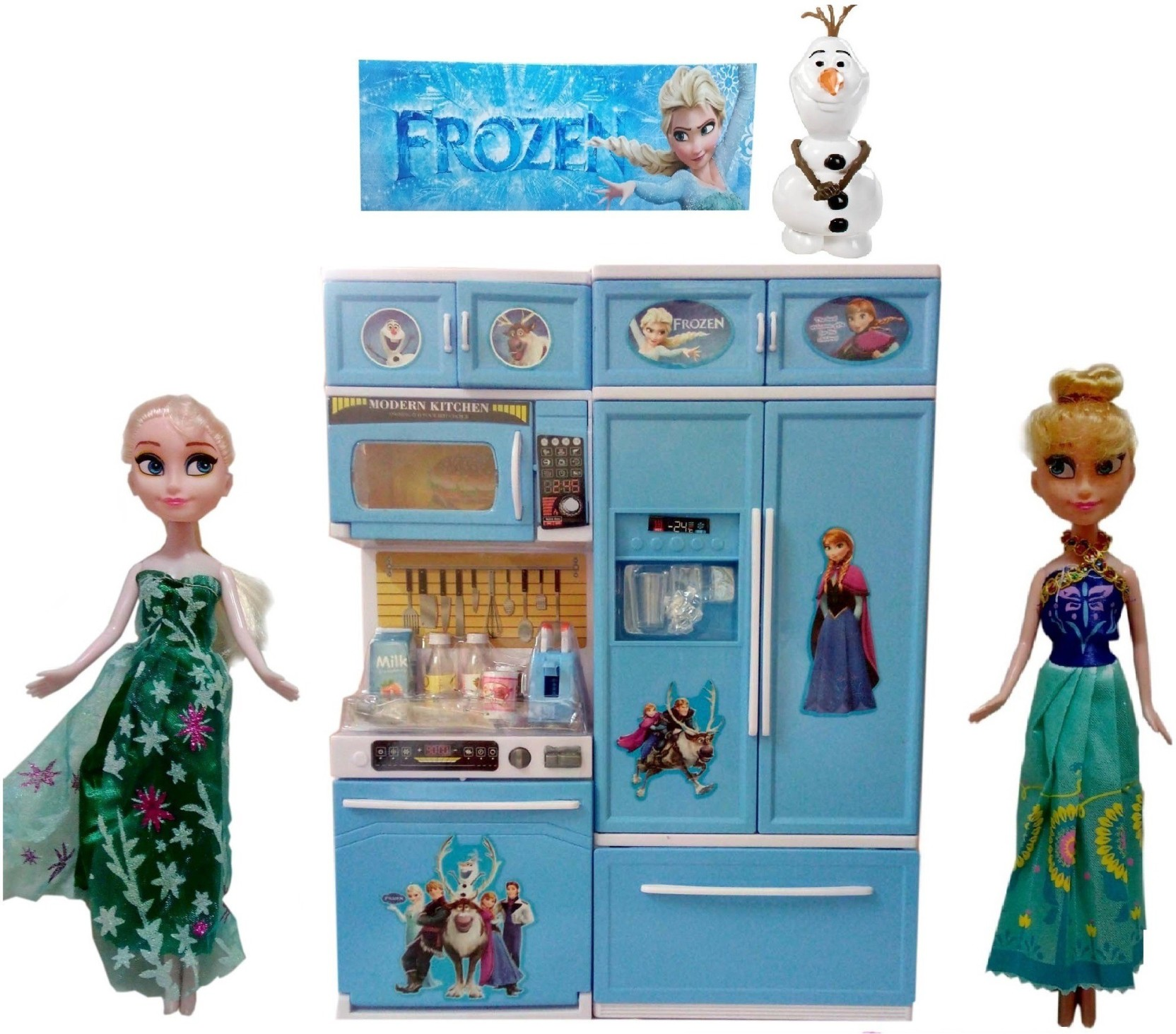 VShine Modern Frozen Kitchen with Light & Sound and Frozen Dolls ...