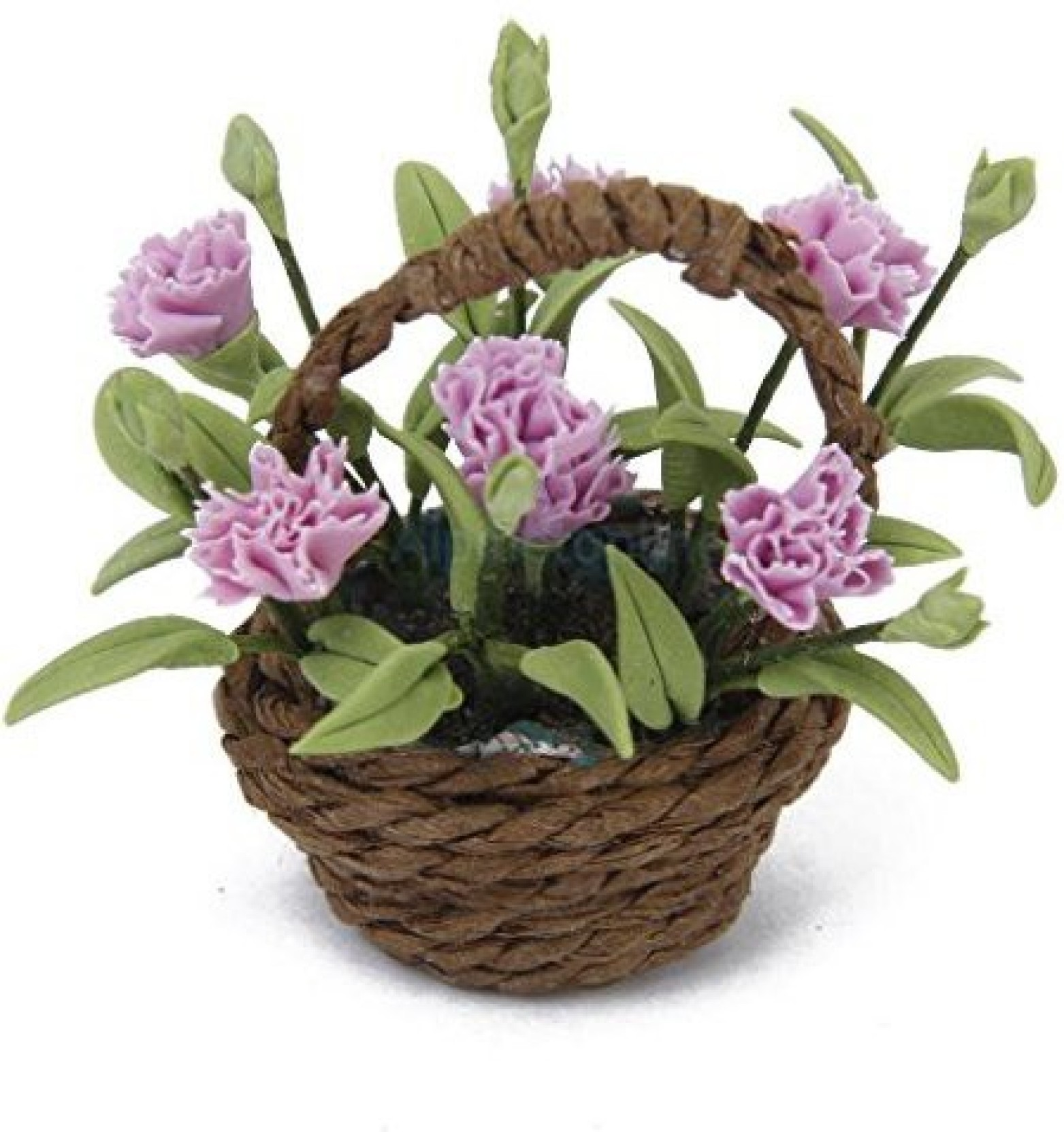 1:12 Miniature Dollhouse Pink Carnation Flower Plant Ornament Basket Decor