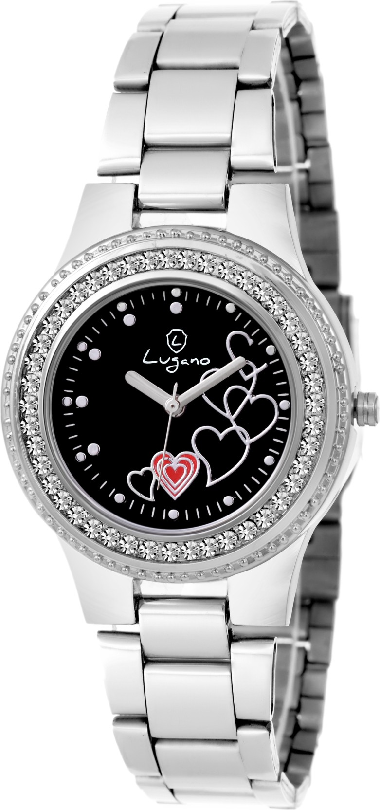 790f33ed706 Lugano LG 2046 Gem Studded with Black Heart Dial Watch - For Women ...