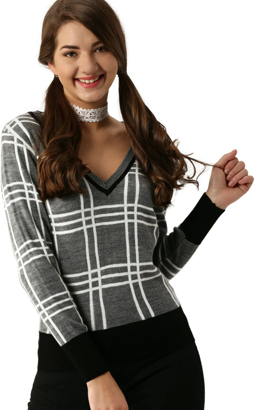 953d0fc0c504d8 Dressberry Checkered V-neck Casual Women Grey, White Sweater. ADD TO CART