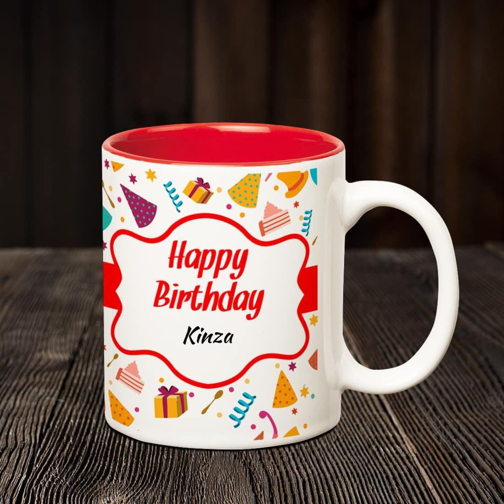 Huppme Happy Birthday Kinza Inner Red Coffee name mug Ceramic Mug
