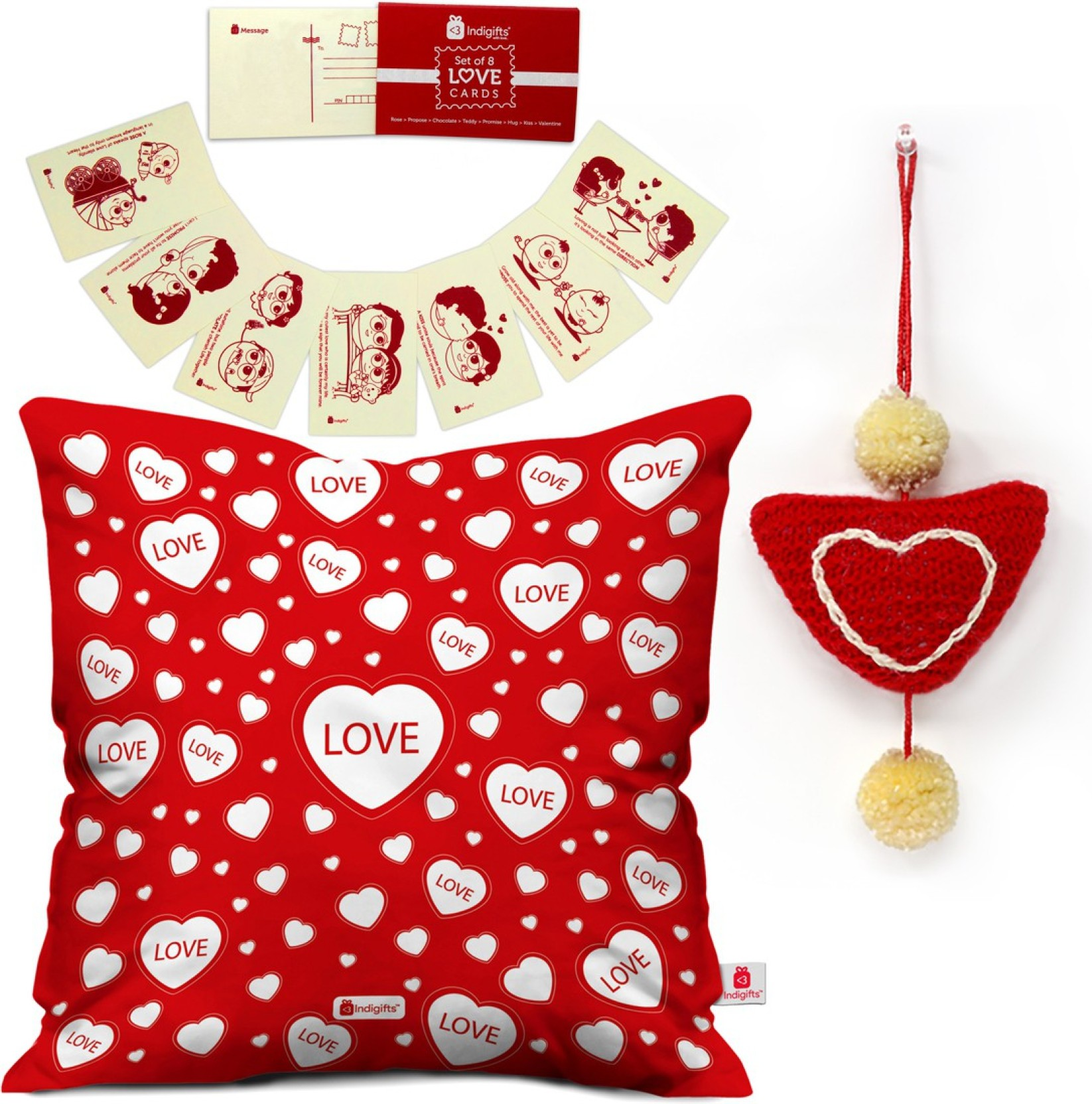 indi ts Love Hearts Seamless Pattern D CM067 LOV Cushion