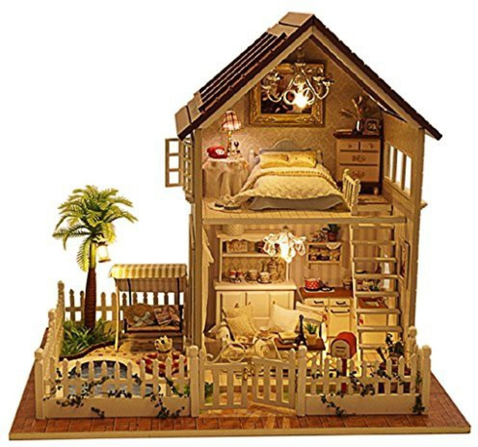 Generic romantic and cute dollhouse miniature diy house kit creative room perfect diy gift for friendslovers and familiesapartment par multicolor