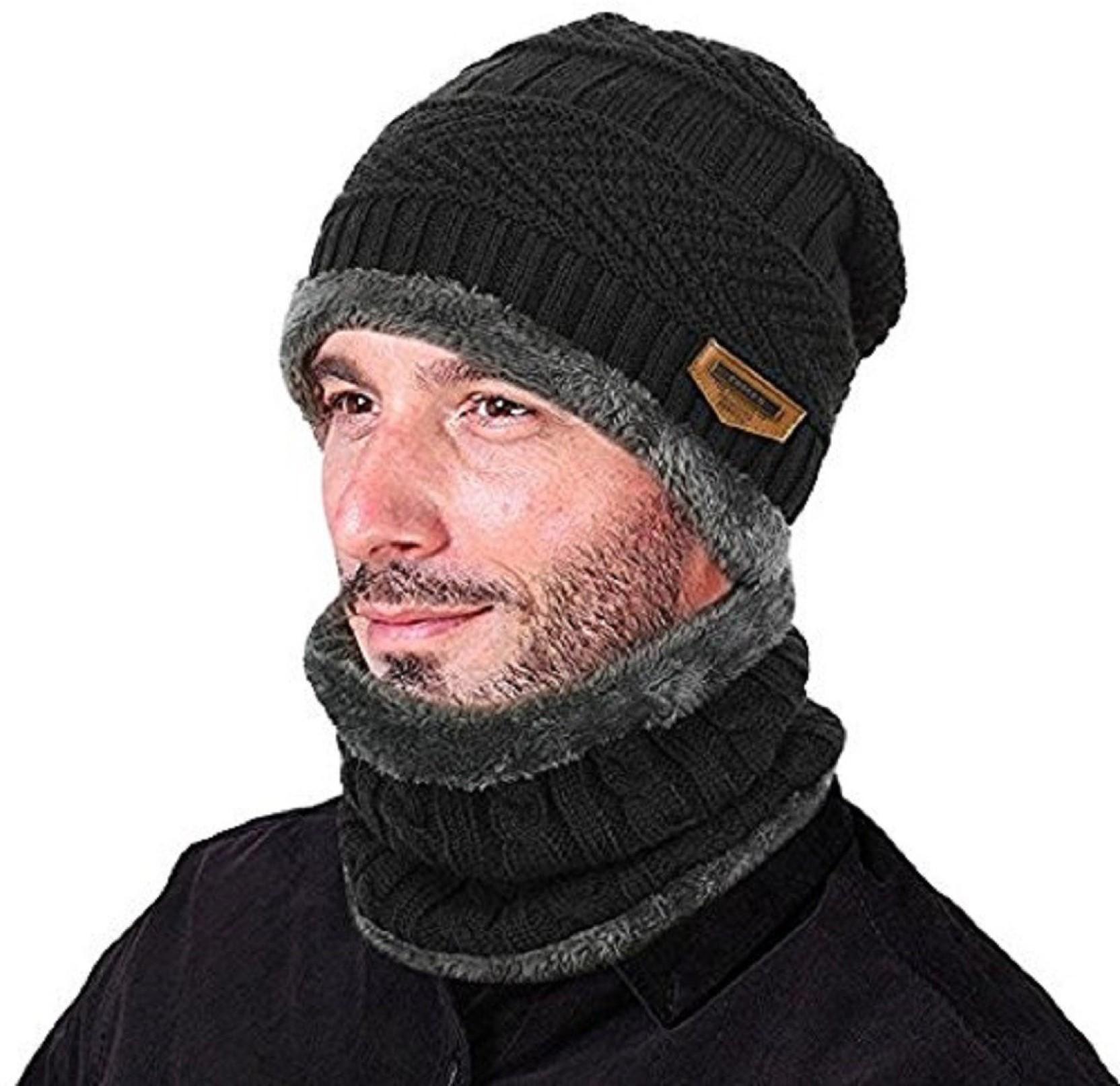 4db8f3cc14 Aeoss 2-Pieces Winter Beanie Hat Scarf Set Warm Knit Hat Thick Knit Skull  Cap. Home