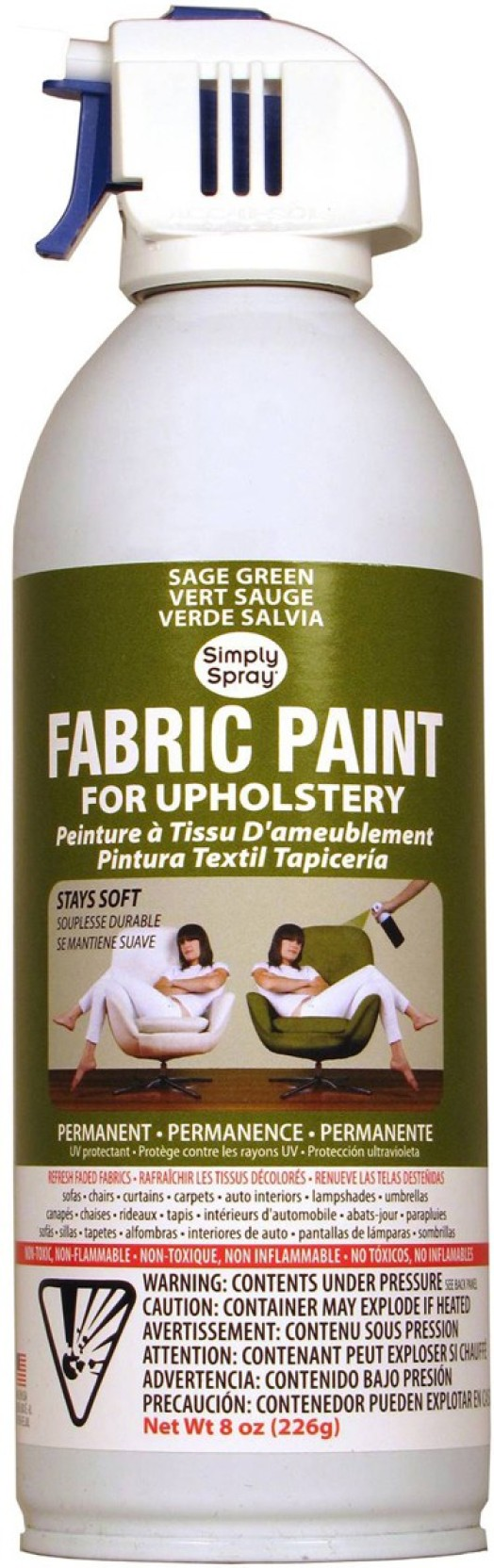 Deval Products Upholstery Spray Fabric Paint 8oz Sage Green