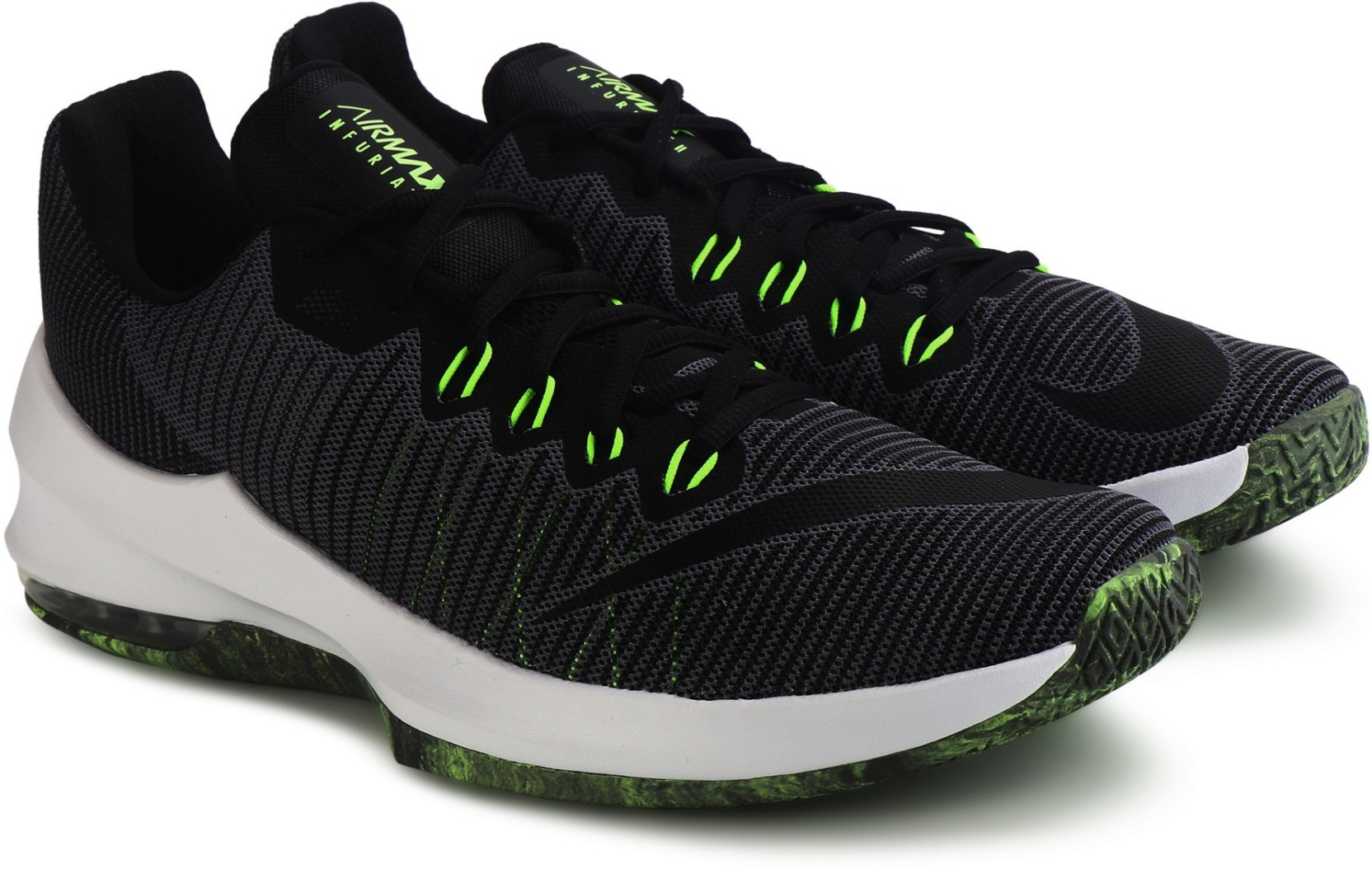 reputable site 3053c be144 Nike AIR MAX INFURIATE 2 LOW Basketball Shoes For Men (Black, Green)