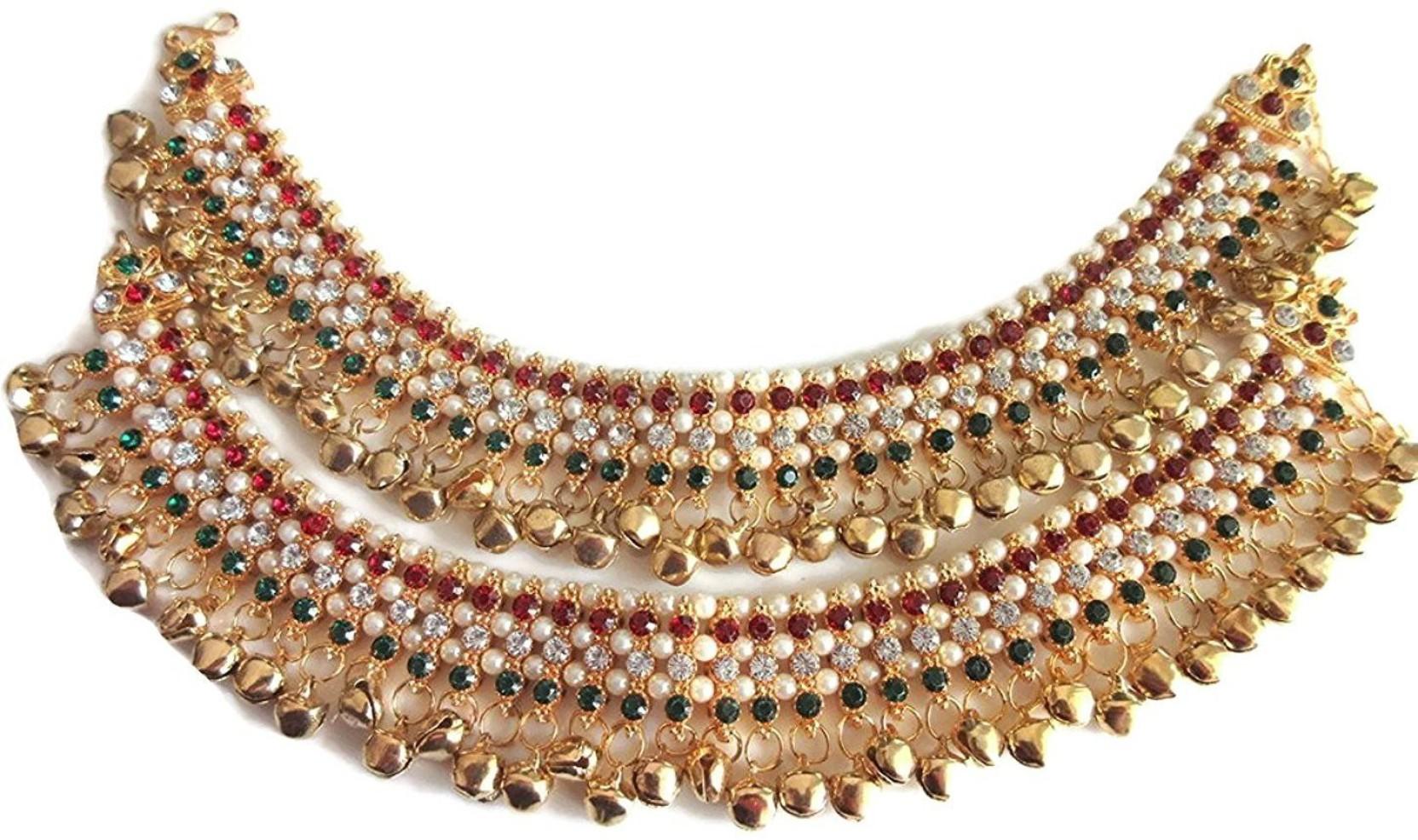 2256116026b4d JS American Diamond Multi Color Stylish Ghungaru Payal Brass Anklet