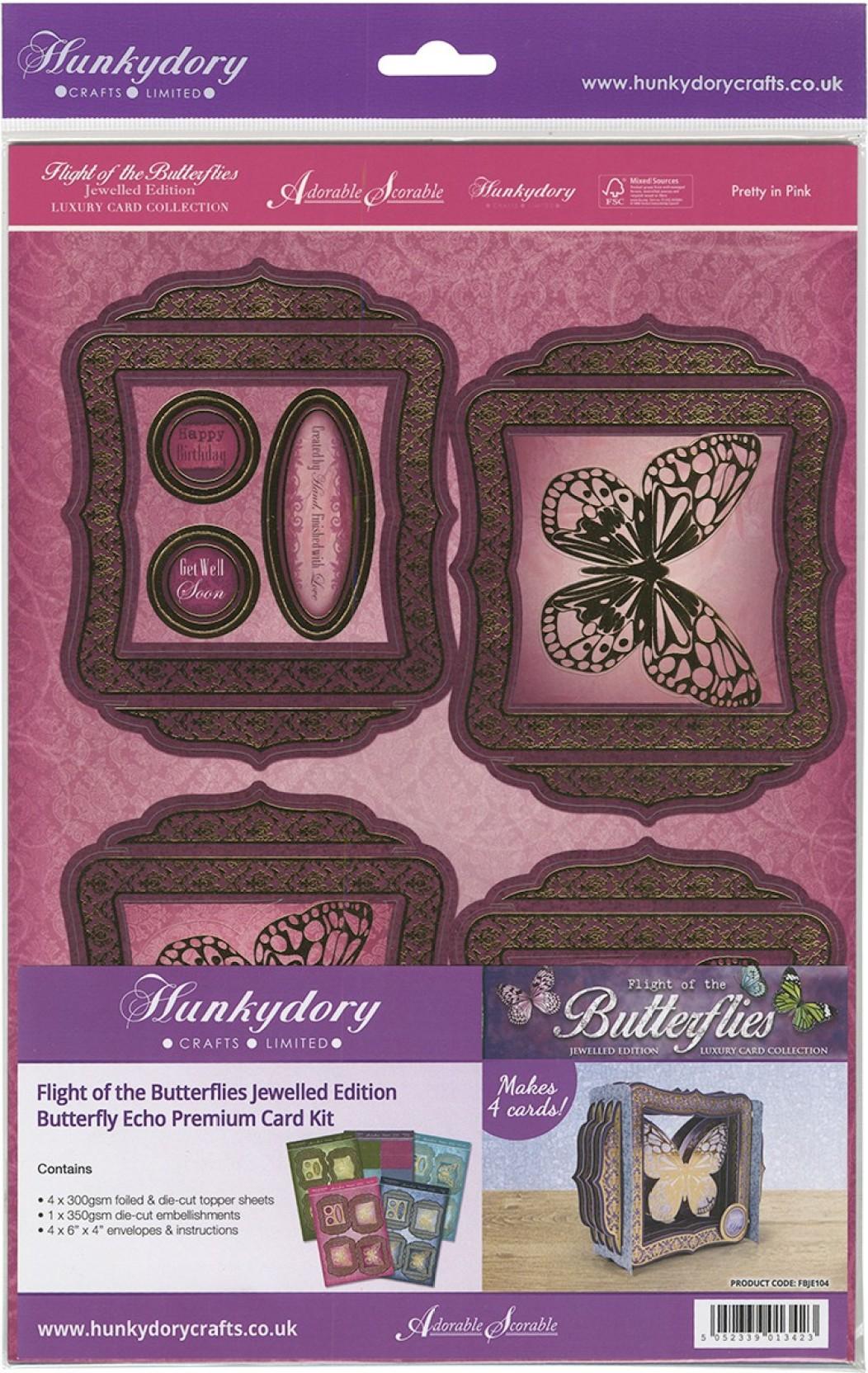 Hunkydory FLIGHT OF THE BUTTERFLIES Premium Die-Cut Card Kits /& Embellishments