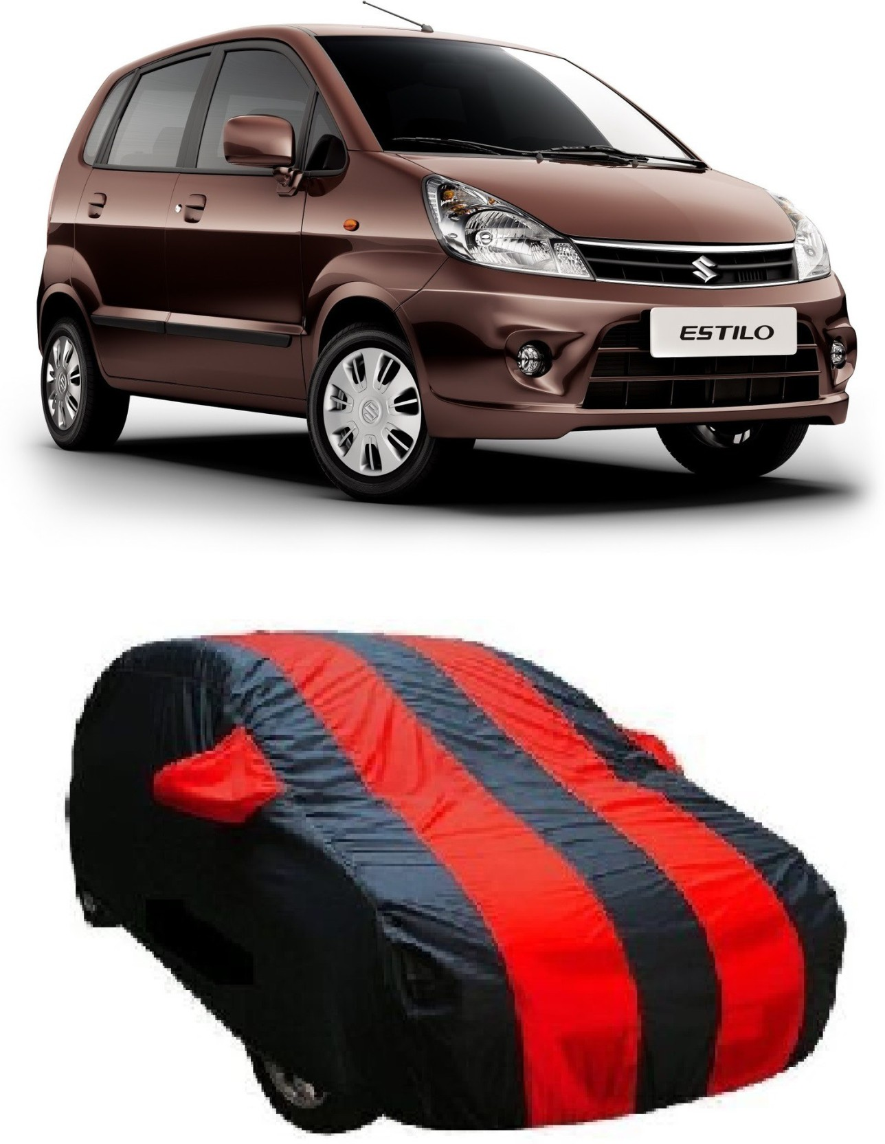 Auto track car cover for maruti suzuki zen estilo with mirror pockets red black