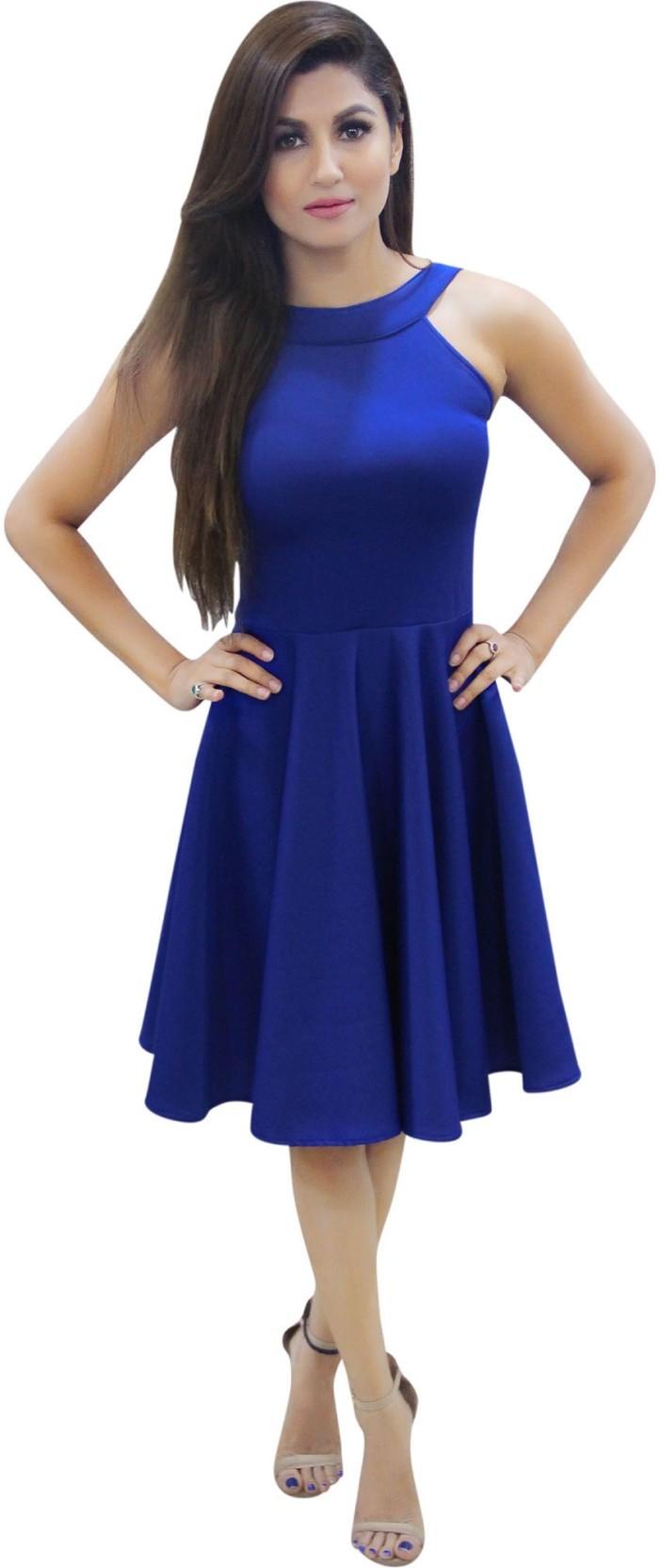 Crazevilla Women Skater Blue Dress Buy Fiction Peplum Purple Add To Cart