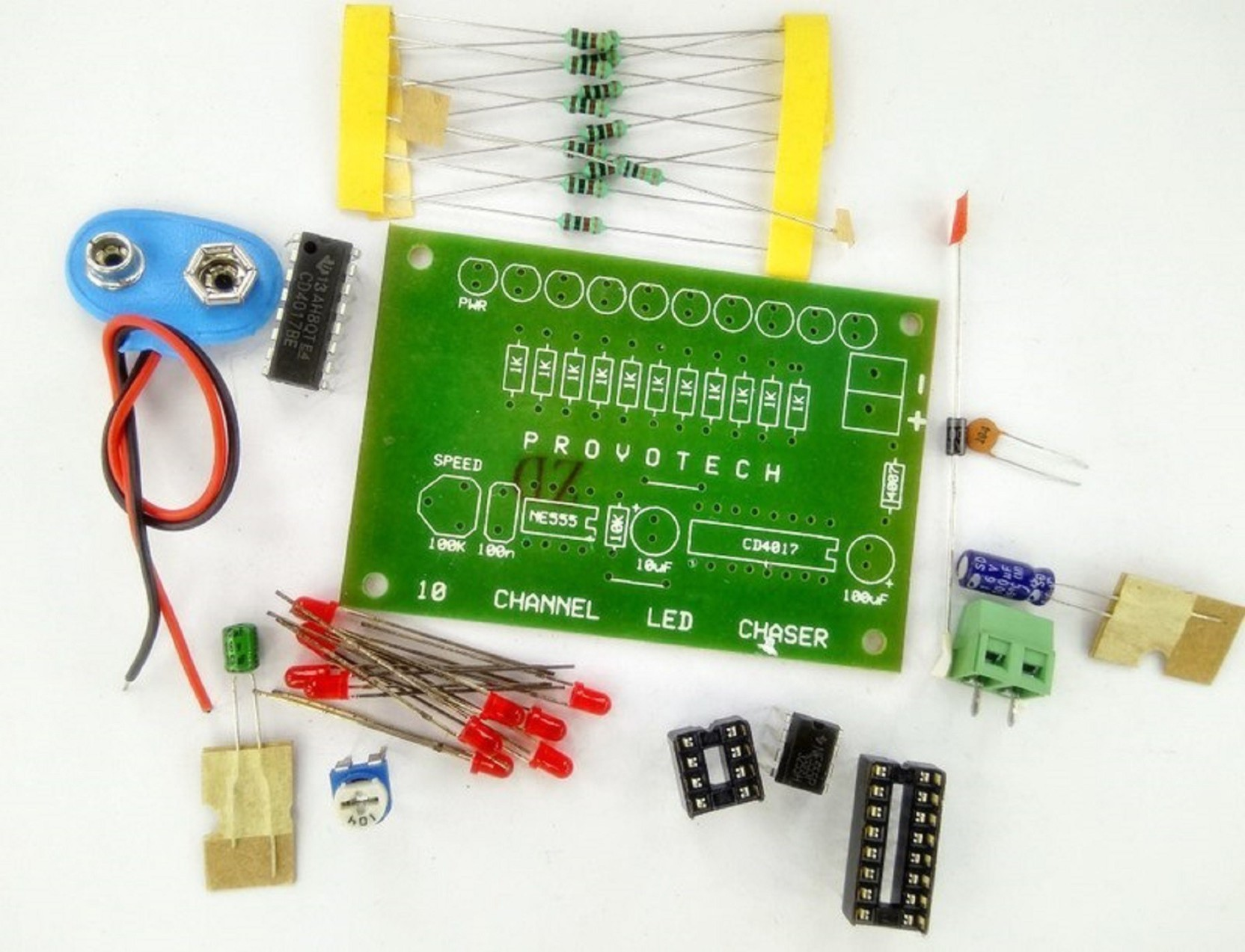 Sunrobotics 10 Channel Led Chaser Diy Kit Educational Electronic Sewn Circuit With 555 Timer On Offer