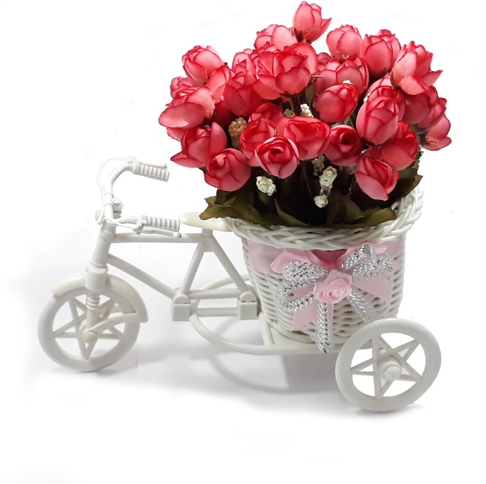 Lof Beautiful Flower Basket With Greeting Card For Girlfriend And