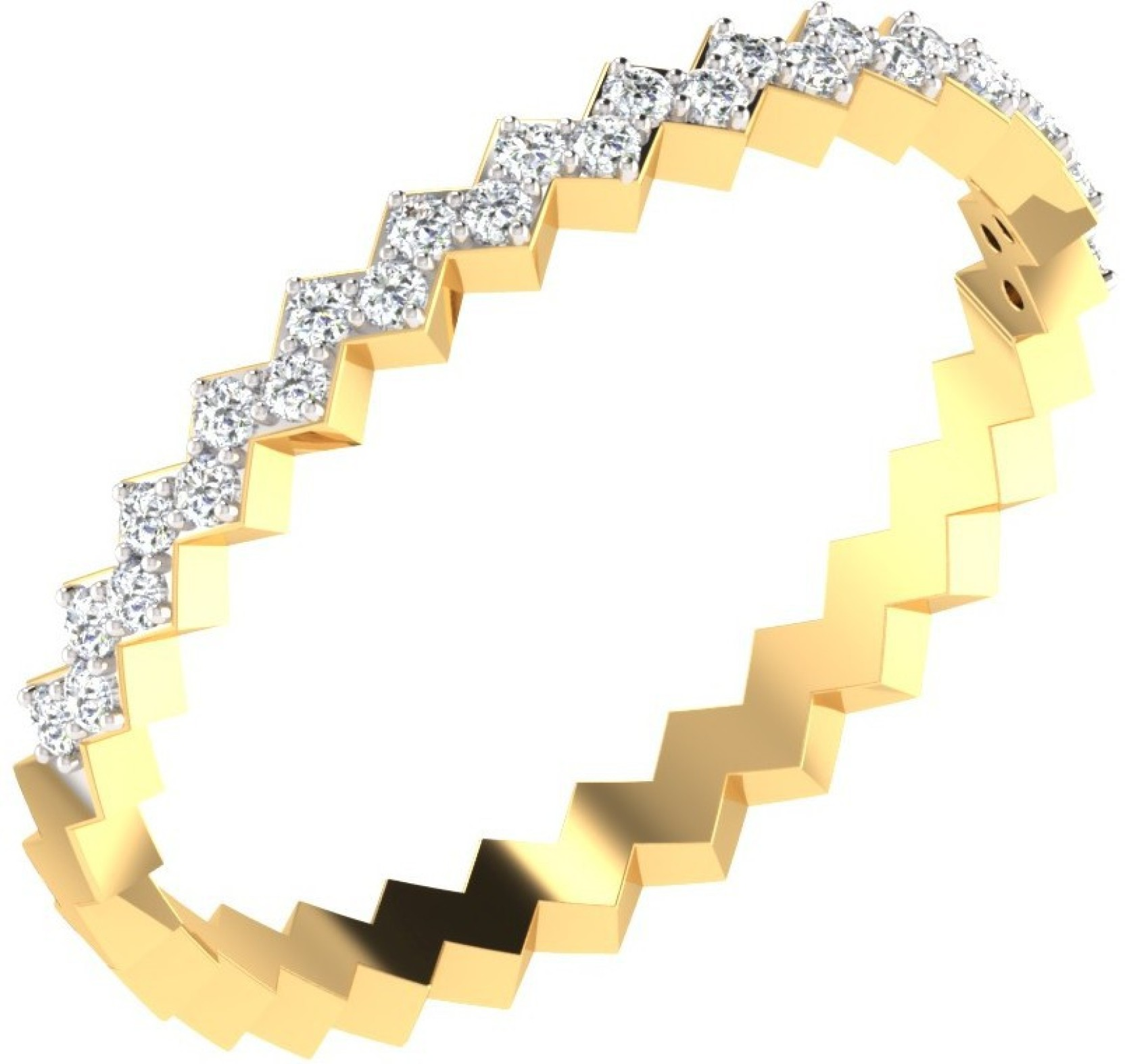 His & Her 0 14 Cts Diamond Zigzag Design Ring in 9KT Yellow Gold 9kt