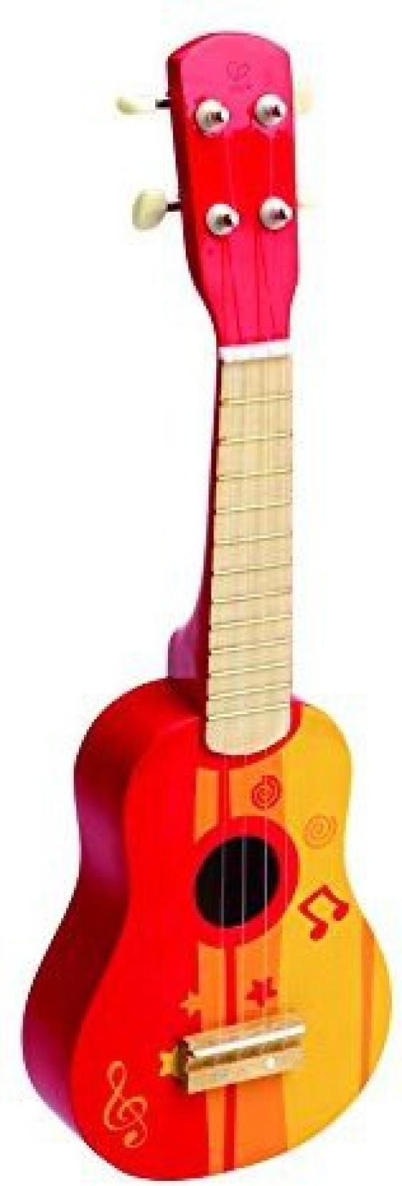 hape kid's wooden toy ukulele in red - kid's wooden toy