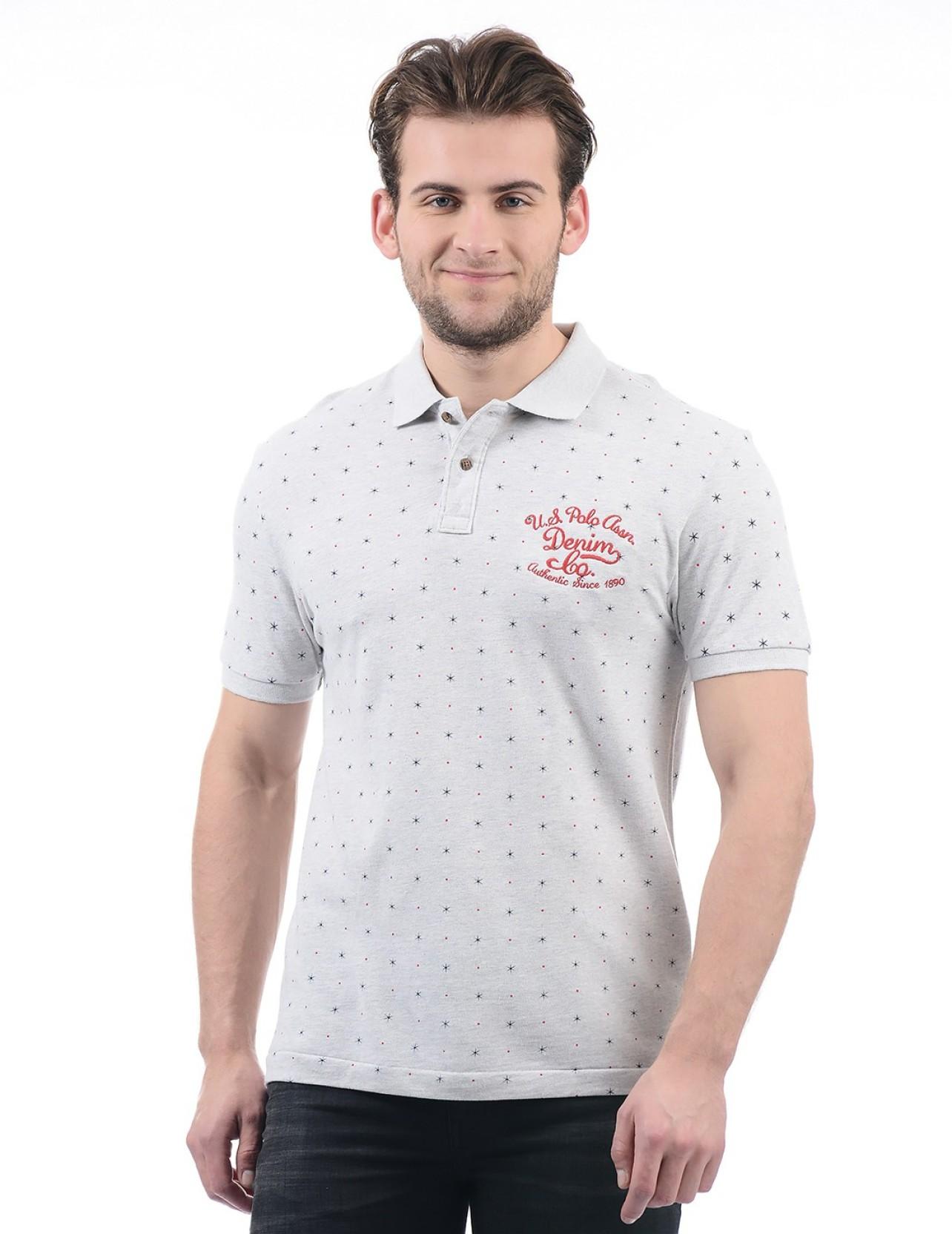 5e77d12bb U.S. Polo Assn Printed Men Polo Neck Grey T-Shirt - Buy U.S. Polo ...