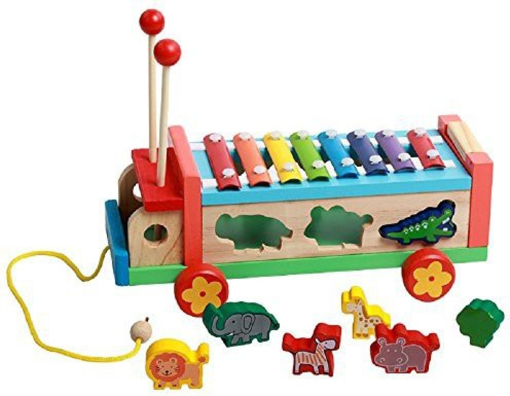 elloapic wooden push pull along toy animal shape match